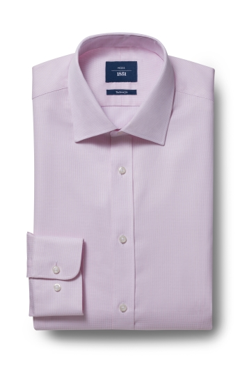 Moss 1851 Tailored Fit Pink Single Cuff Textured Shirt