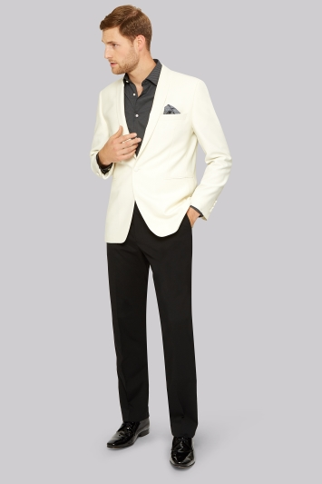 Moss Esq. Regular Fit White Shawl Collar Tuxedo Jacket