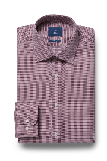 Moss 1851 Tailored Fit Wine Single Cuff Textured Shirt