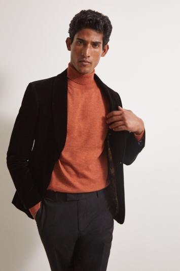 Moss 1851 Orange Merino Roll-Neck Jumper