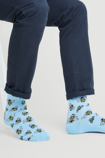 Moss London Light Blue with Bee Socks