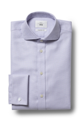 10a2150db Moss 1851 Tailored Fit Lilac Double Cuff Puppytooth Texture Zero Iron Shirt
