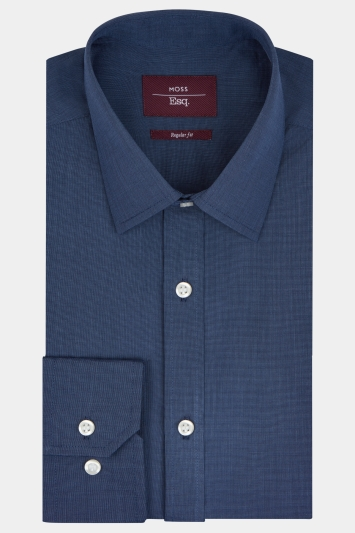 Moss Esq. Regular Fit Navy Single Cuff Shirt