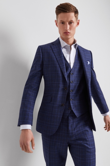 Lanificio F.lli Cerruti Dal 1881 Cloth Tailored Fit Bold Blue Check Milled iTravel Jacket