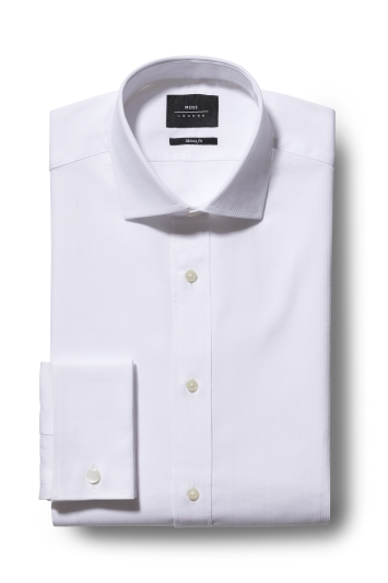 Moss London Premium Skinny Fit White Double Cuff Stripe Shirt