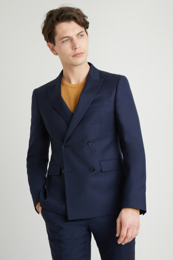 64722ae79469d8 DKNY Slim Fit Navy Panama Openweave Double Breasted Jacket