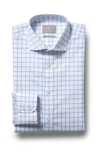 Savoy Taylors Guild Regular Fit Blue Single Cuff Grid Check Shirt