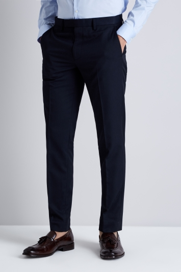 Moss London Skinny Fit Machine Washable Navy Trousers