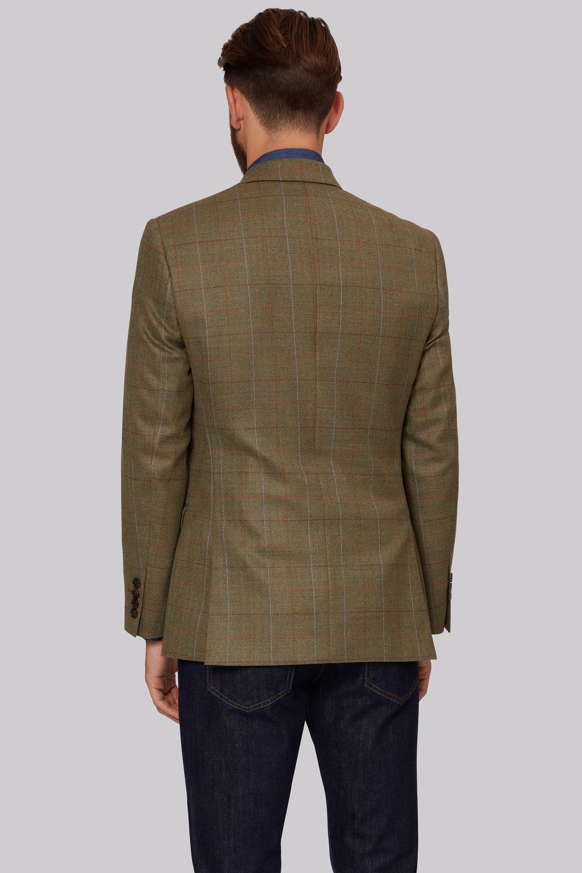 1851 Tailored Fit Green Multi Check Jacket