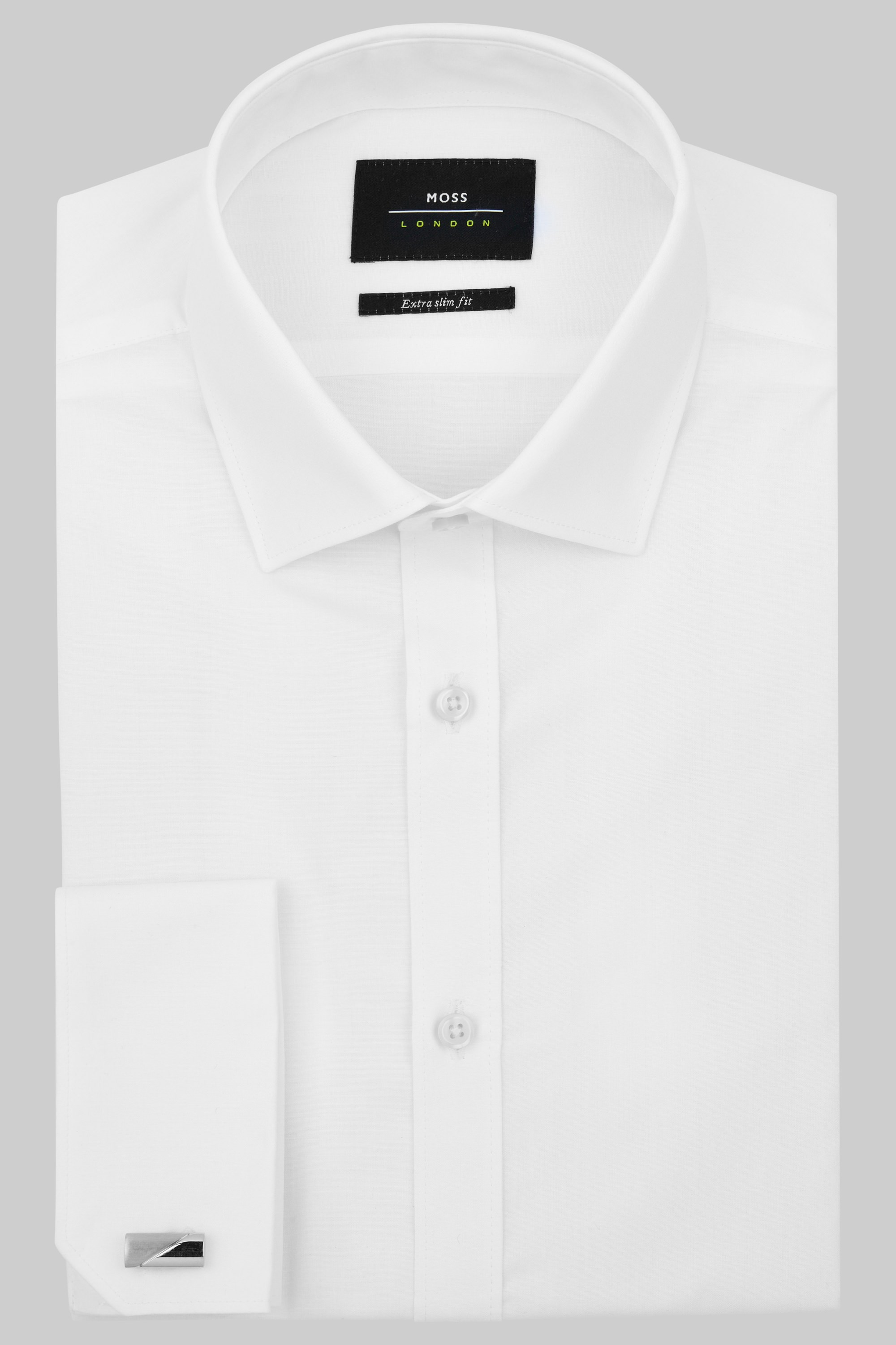 London Extra Slim Fit White Double Cuff Shirt