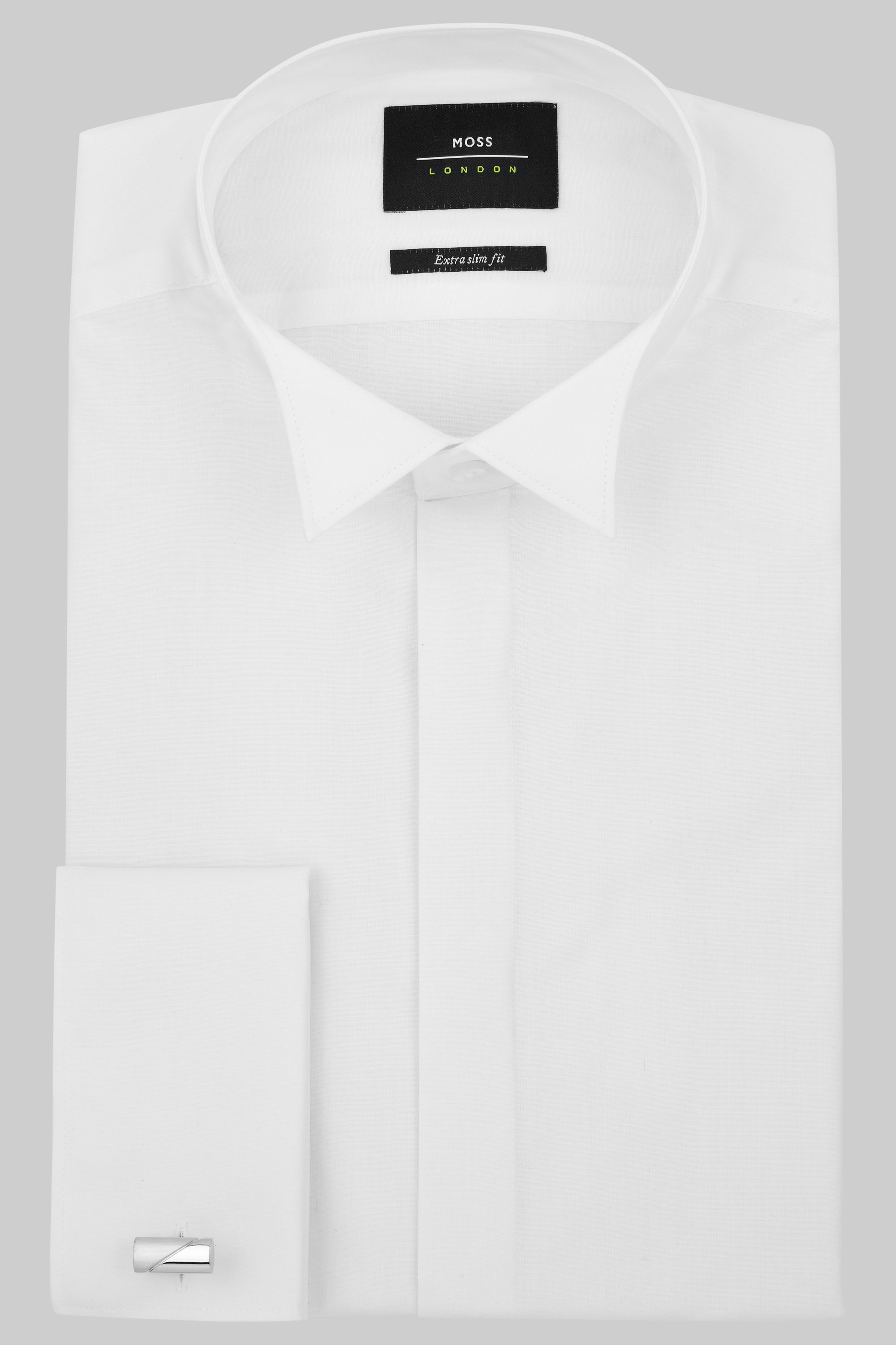 Moss london extra slim fit double cuff wing collar dress shirt for White non iron dress shirts
