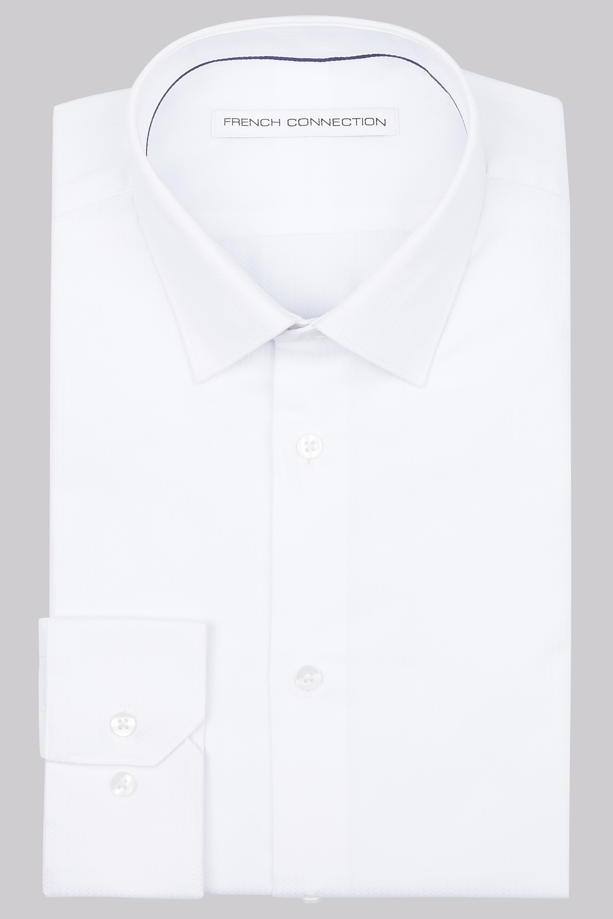 French connection slim fit white single cuff dobby shirt White french cuff shirt slim fit