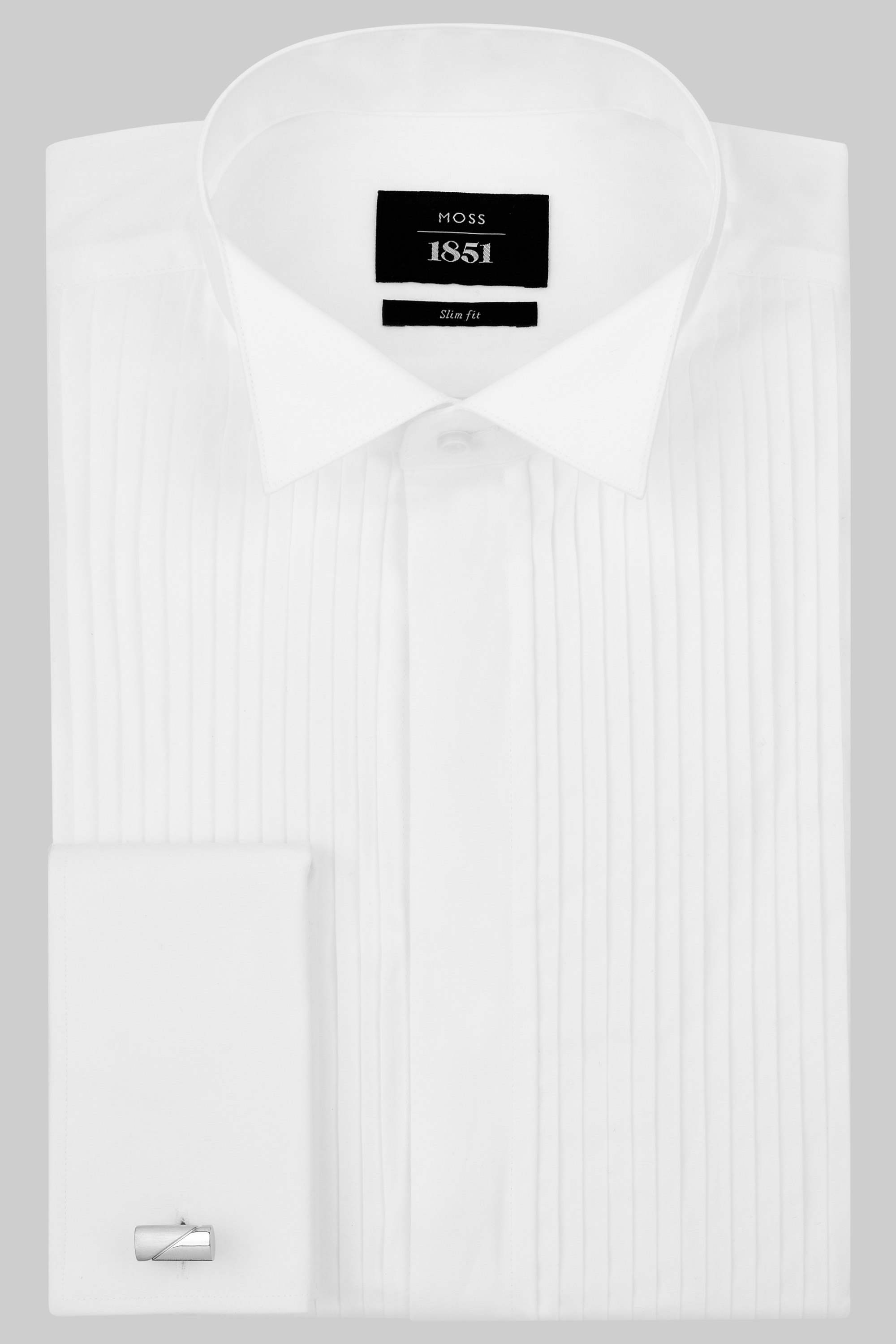 Moss 1851 Slim Fit Wing Collar Pleated White Dress Shirt