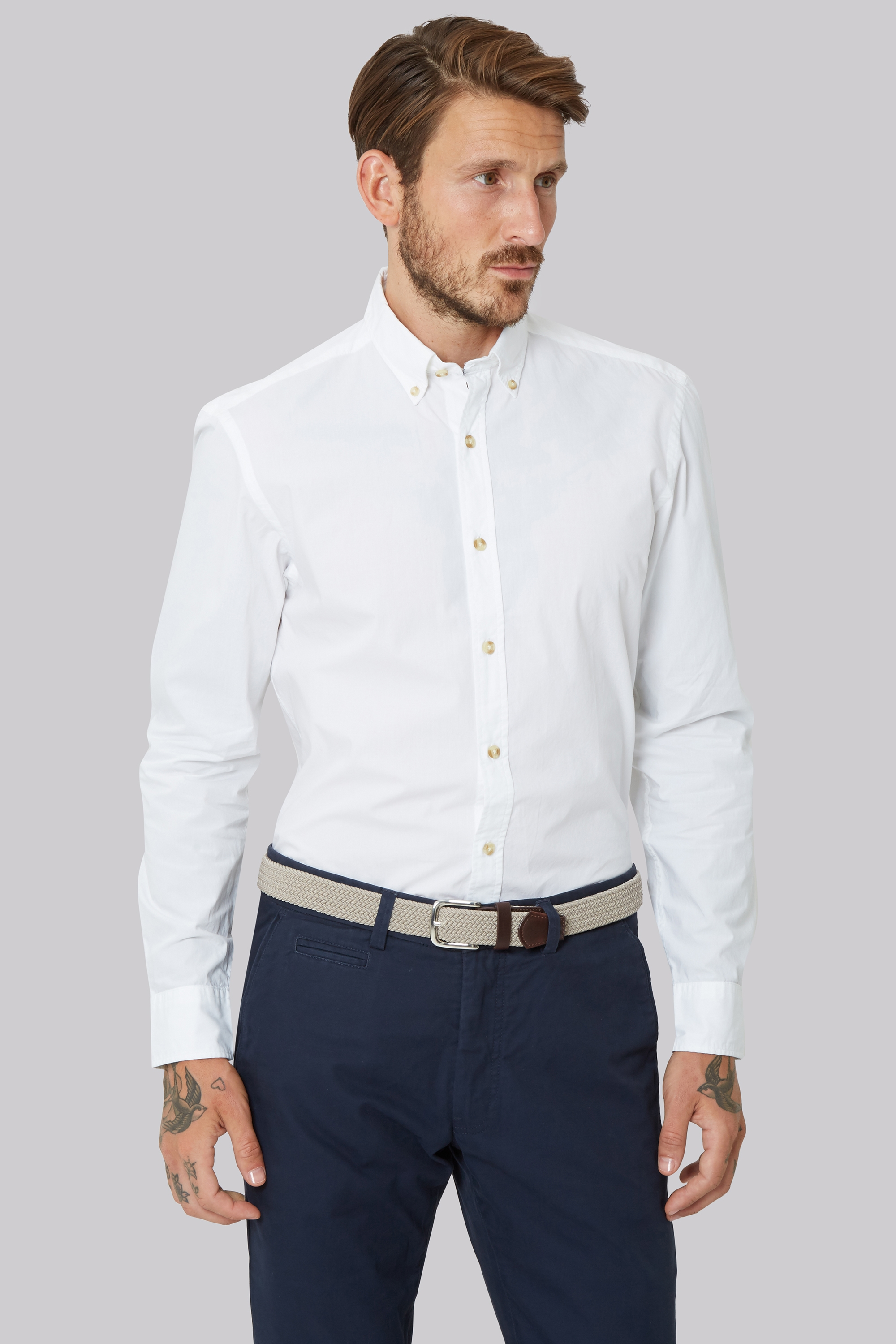 moss 1851 slim fit white single cuff button down collar