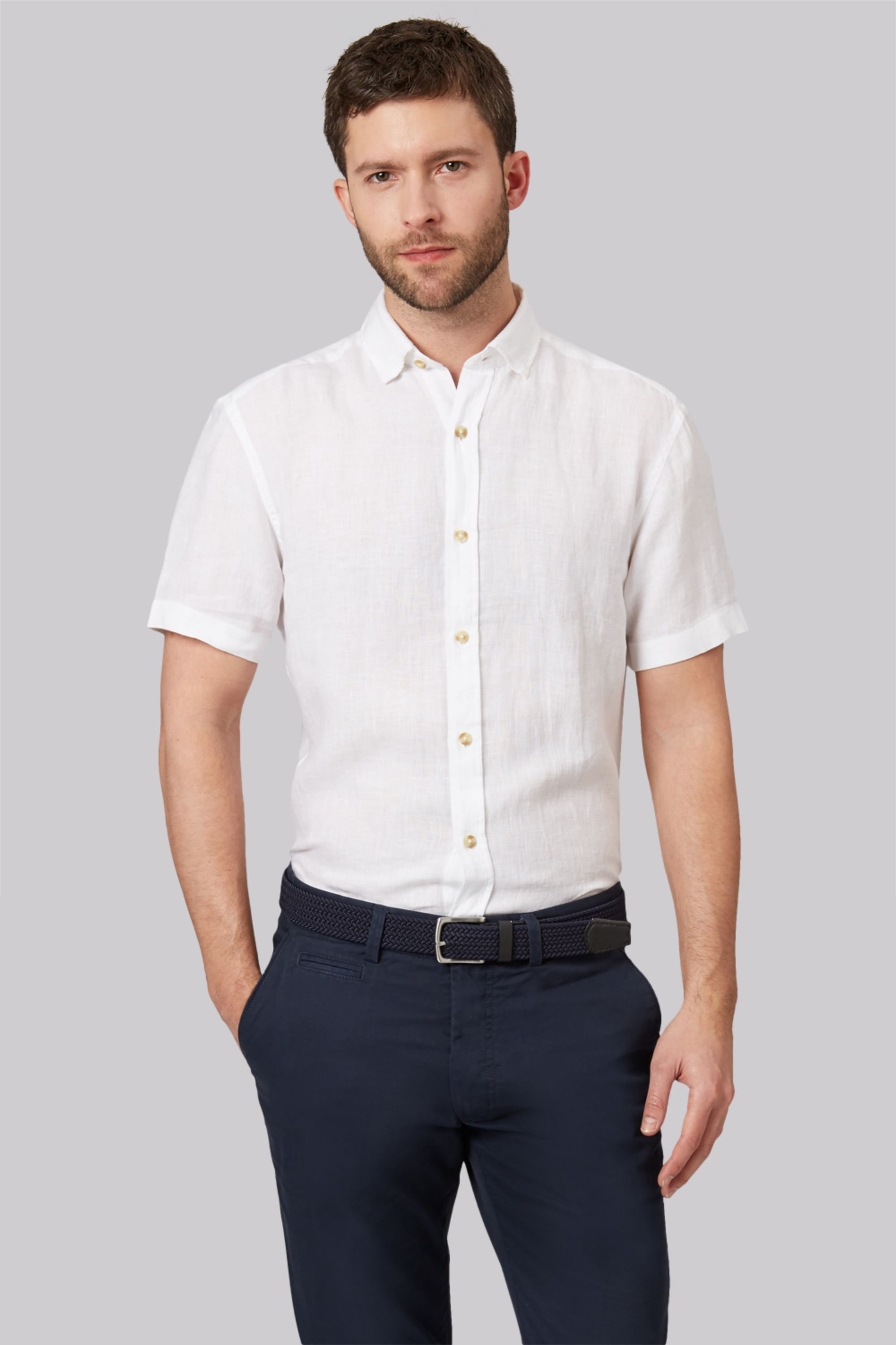1851 Slim Fit White Short Sleeve Linen Shirt