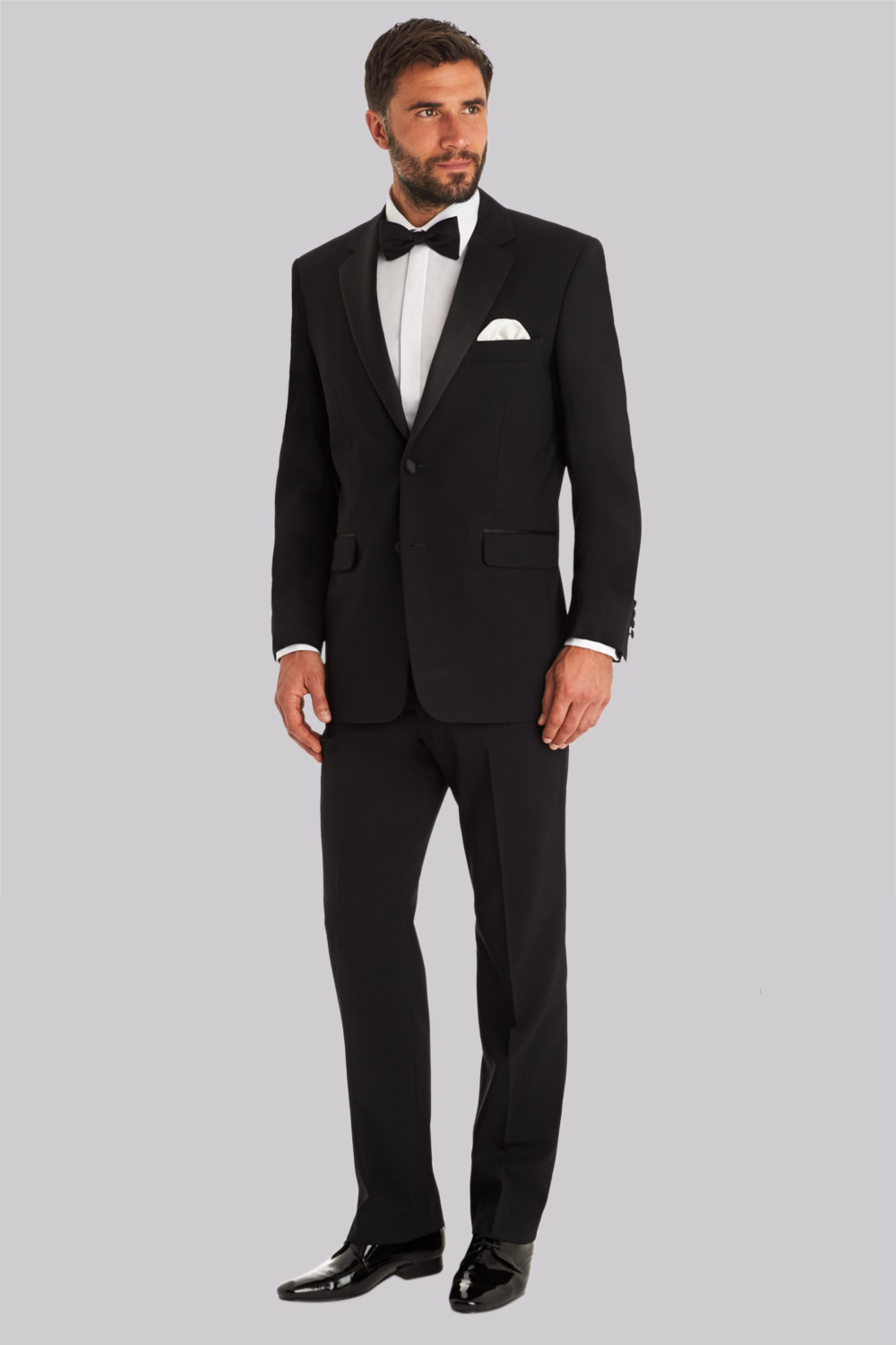 127a79e2b0b1 Moss Bros Regular Fit Black Notch Lapel Tuxedo