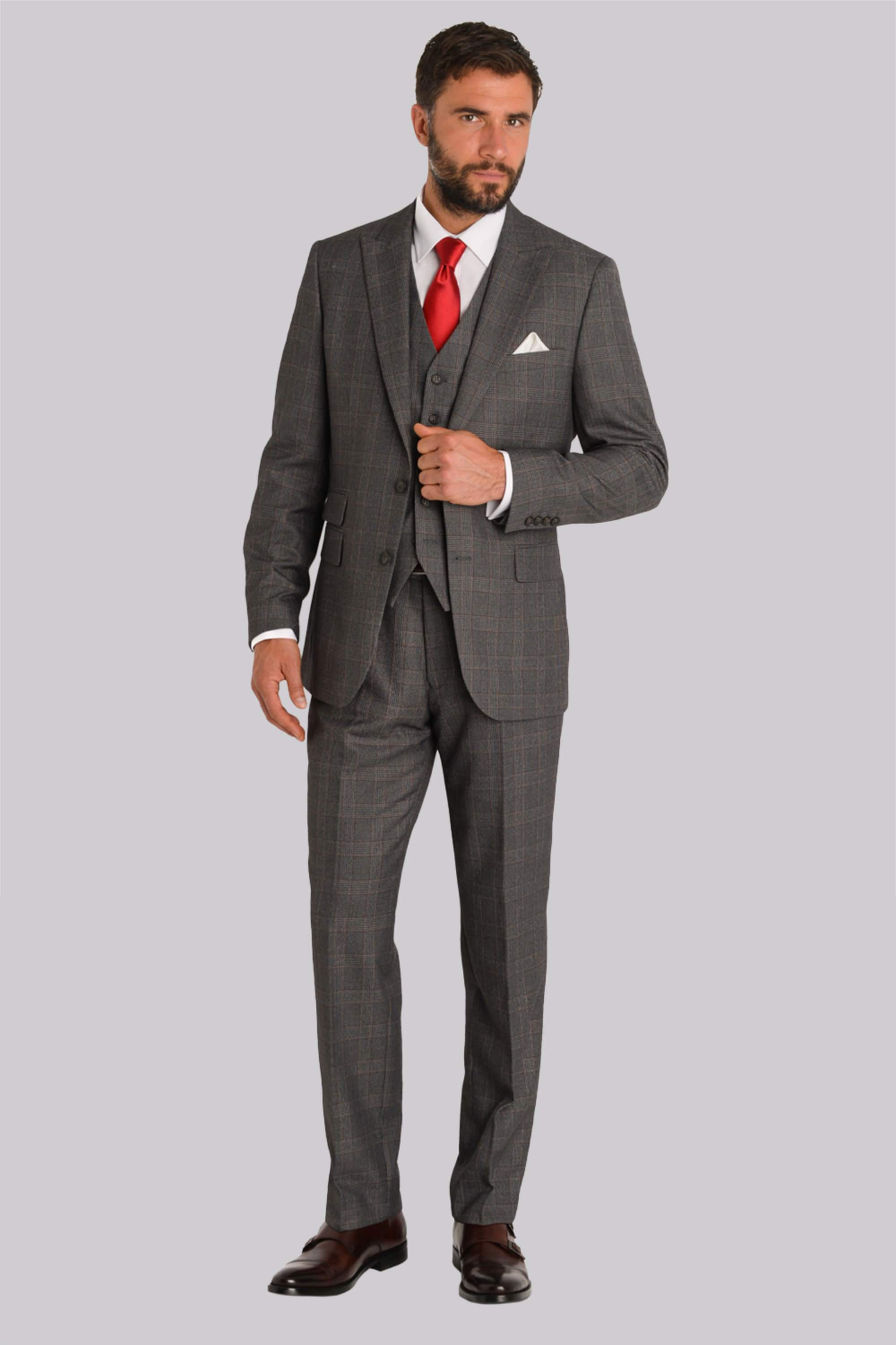 Esq. Regular Fit Grey With Rust Check 3 Piece Suit