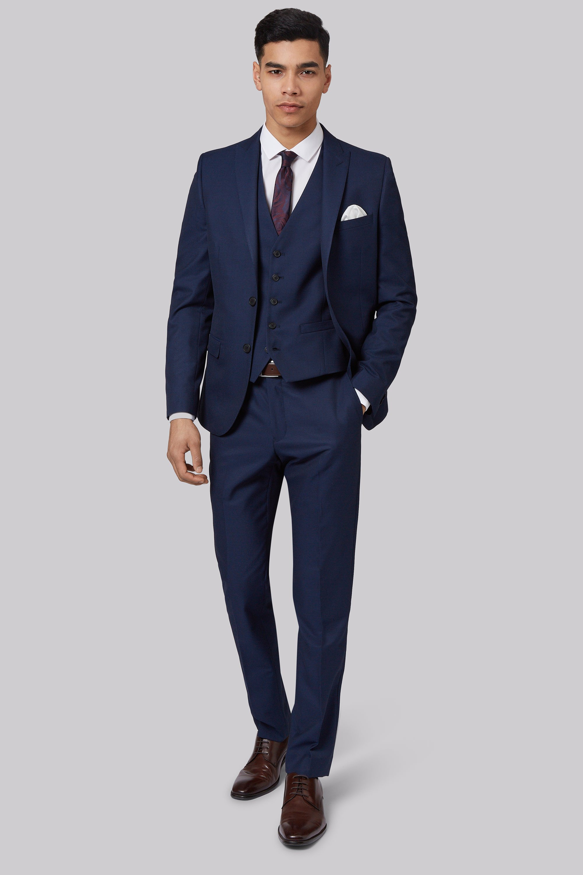 London Skinny Fit Blue Sharkskin Jacket