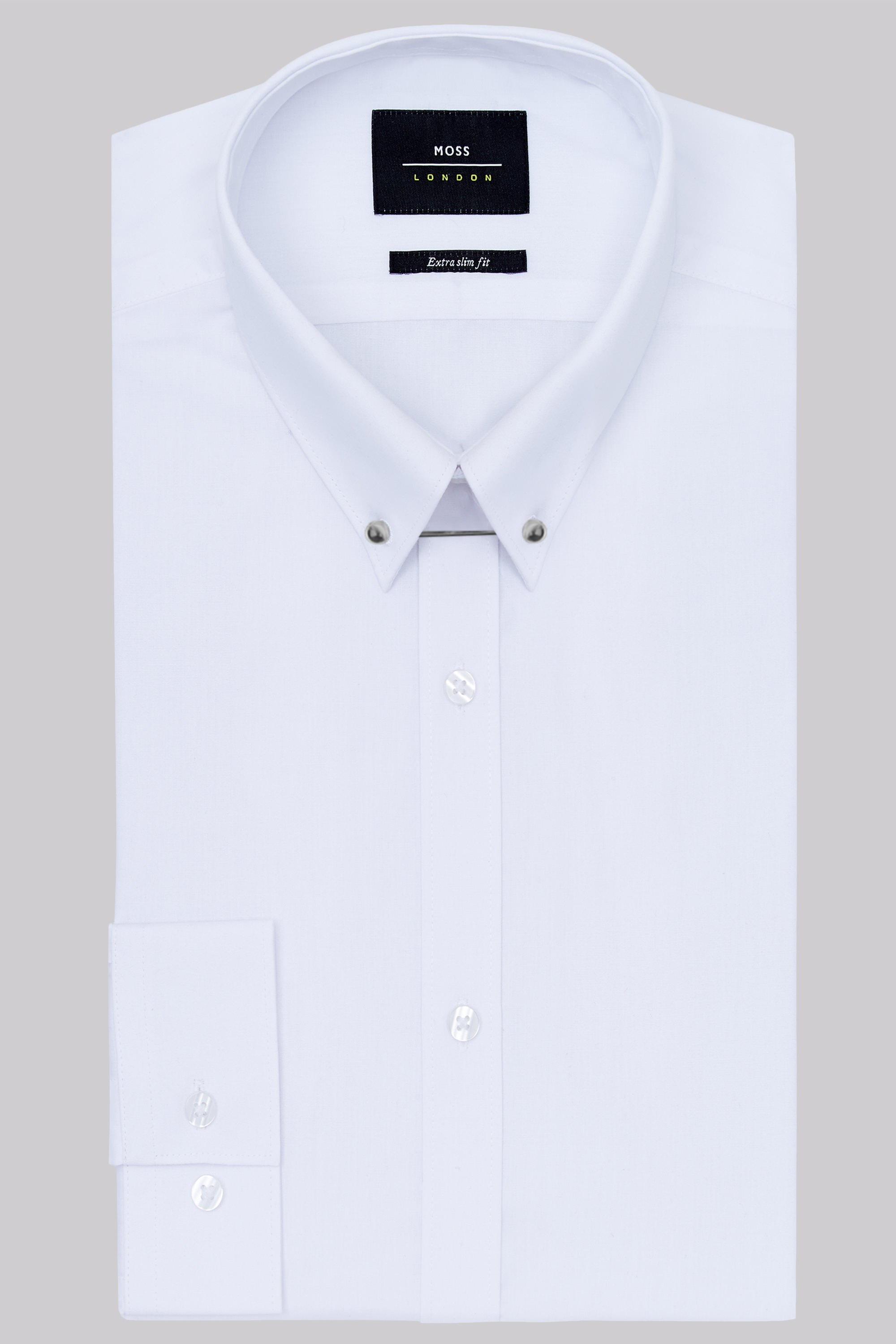 London Extra Slim Fit White Single Cuff Pin Collar Shirt