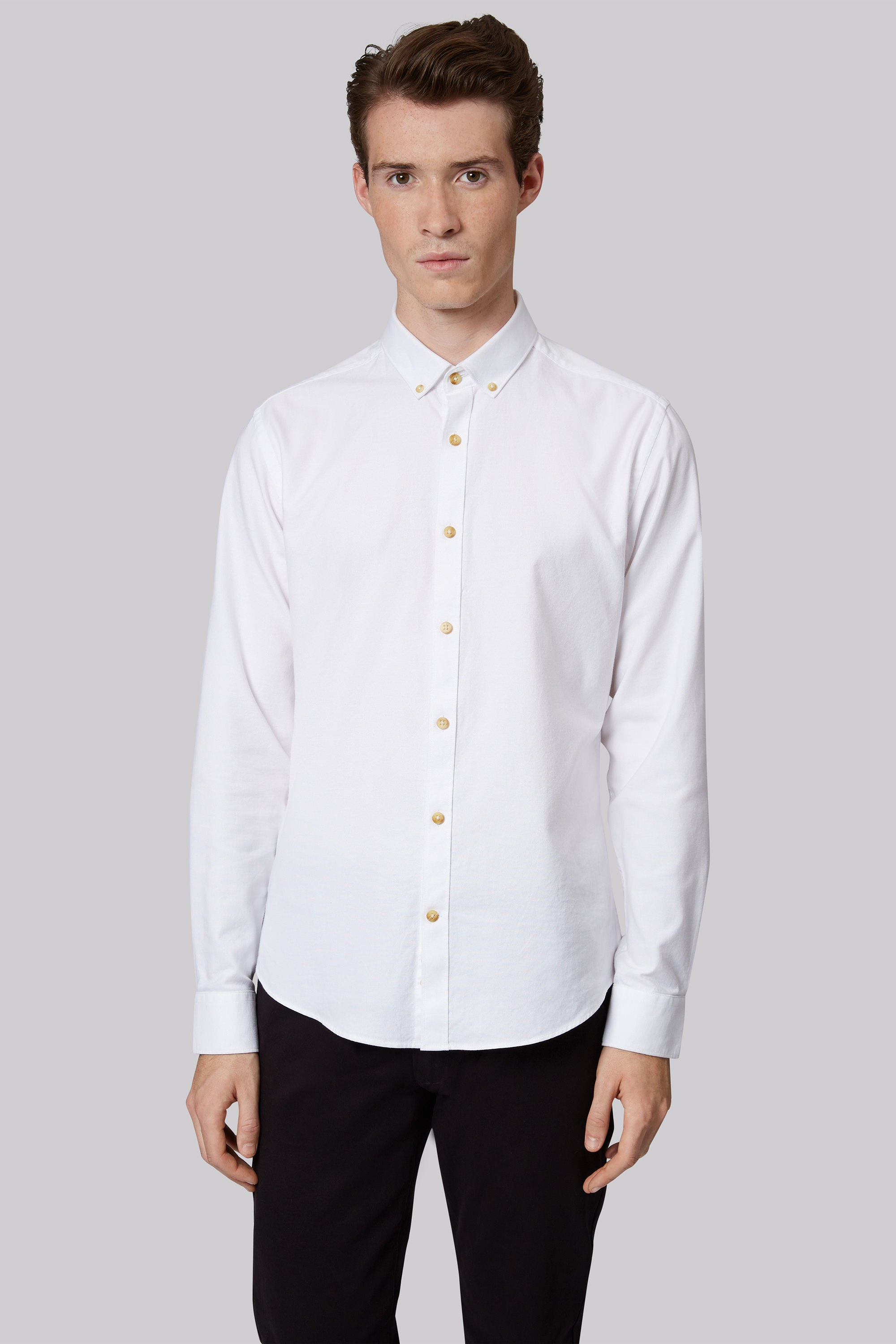 London Extra Slim Fit White Single Cuff Oxford Button Down Casual ...