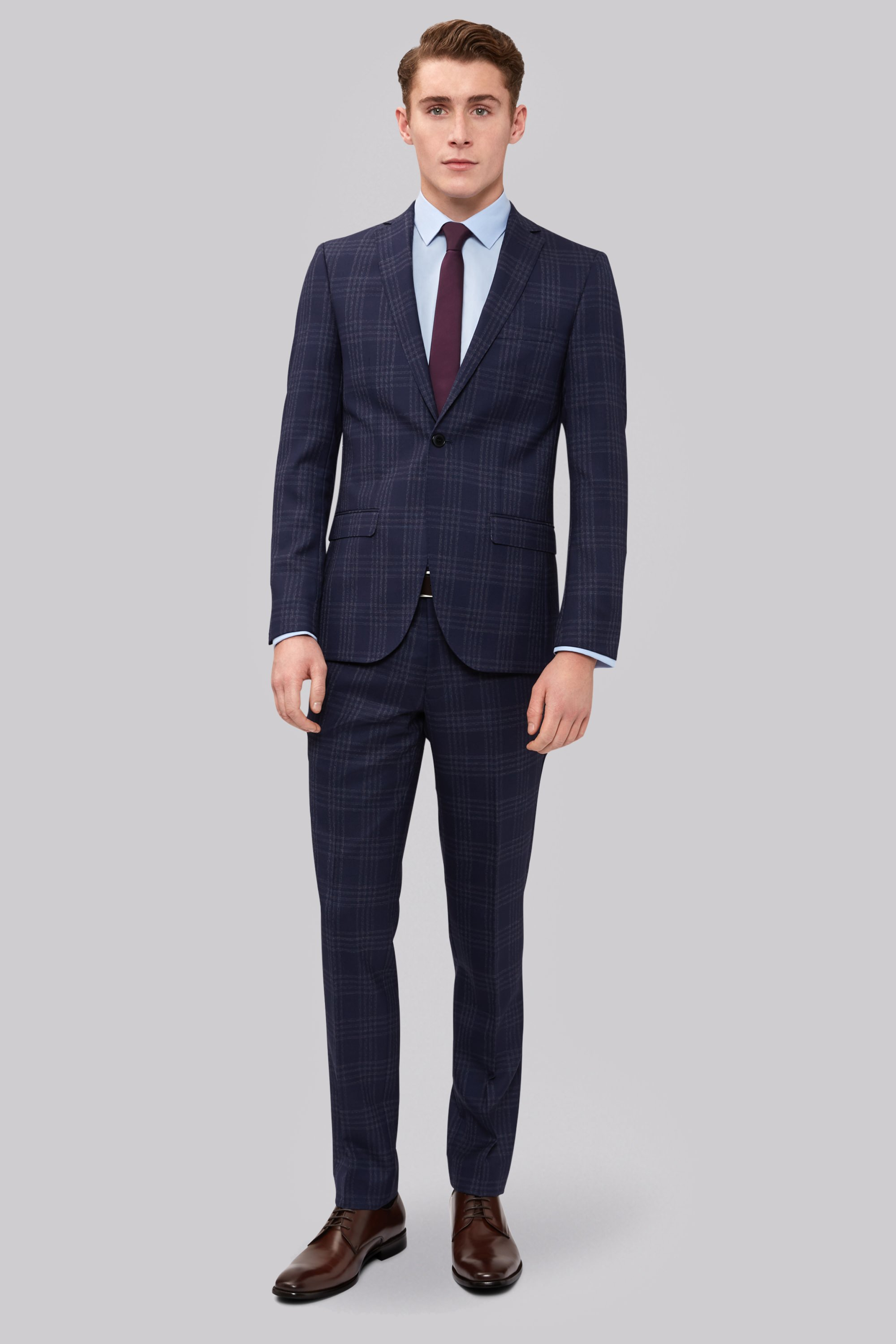 London Skinny Fit Navy Large Check Suit
