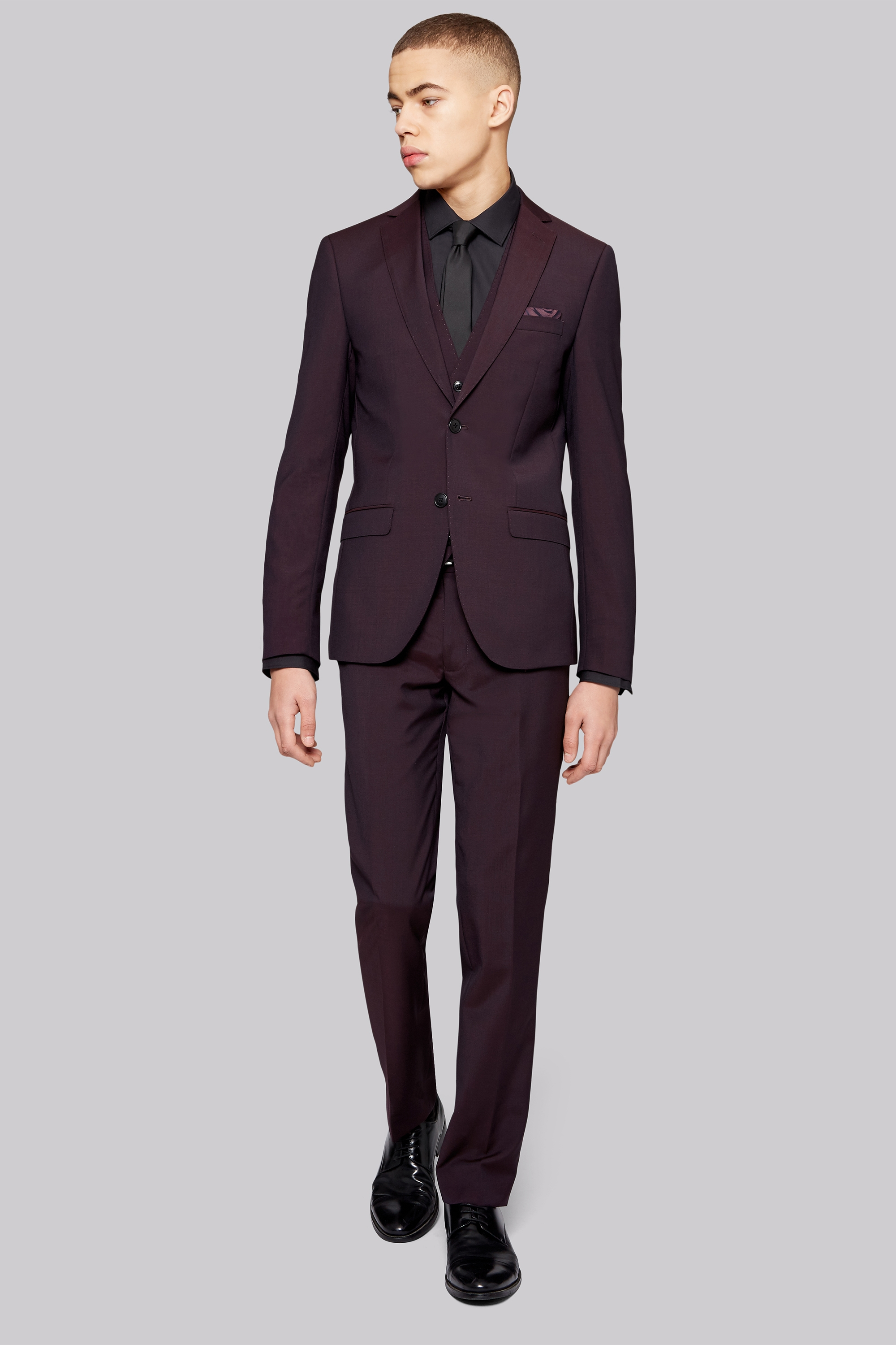 Moss London Skinny Fit Burgundy Suit Jacket