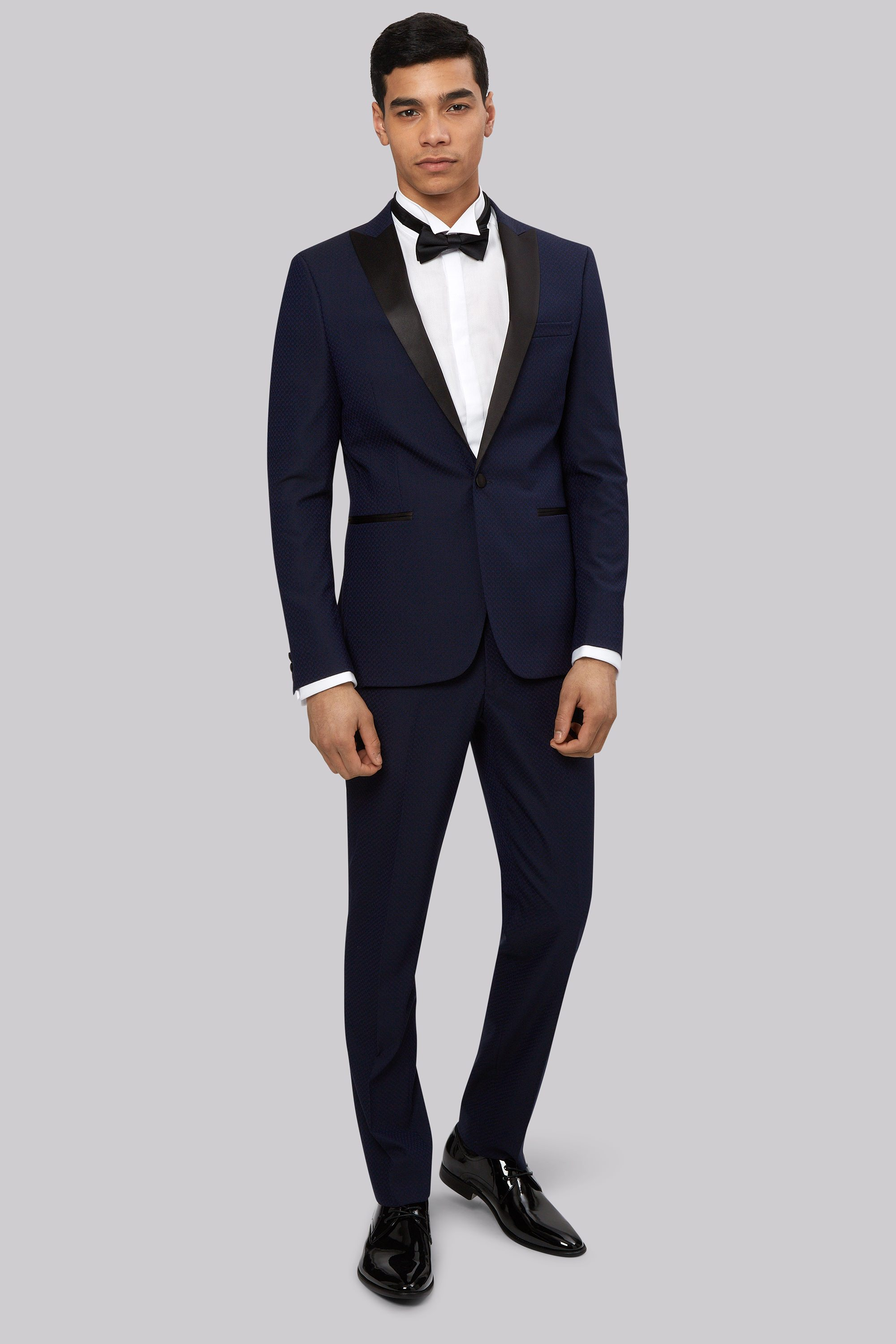 Moss London Slim Fit Midnight Blue Jacquard Tuxedo