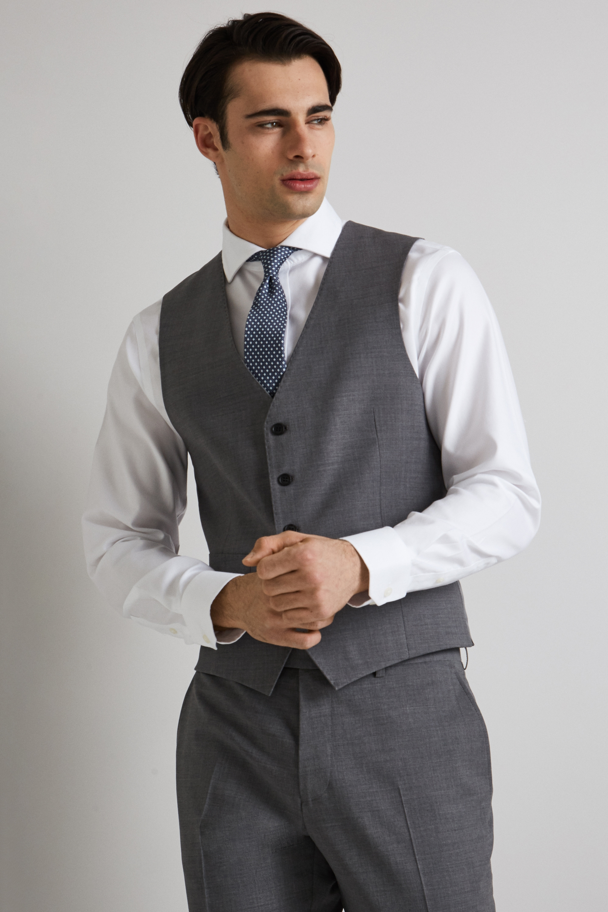Ideal for special occasions, give your formal look the perfect finishing touch with a sophisticated waistcoat. Our range includes styles in black, grey or blue, so you can find the perfect match for your favourite two piece suits.