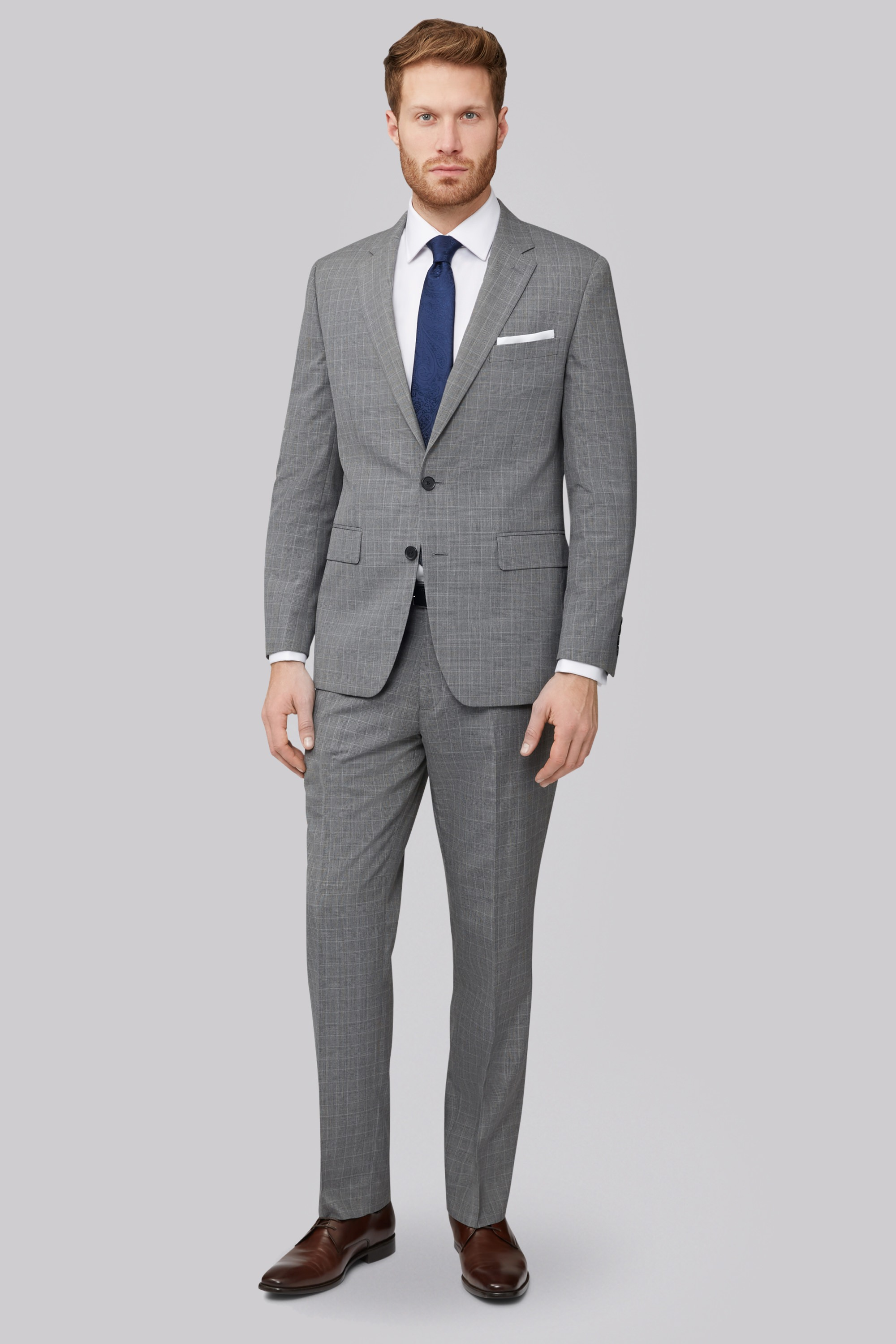 Esq.Regular Fit Light Grey Check Suit