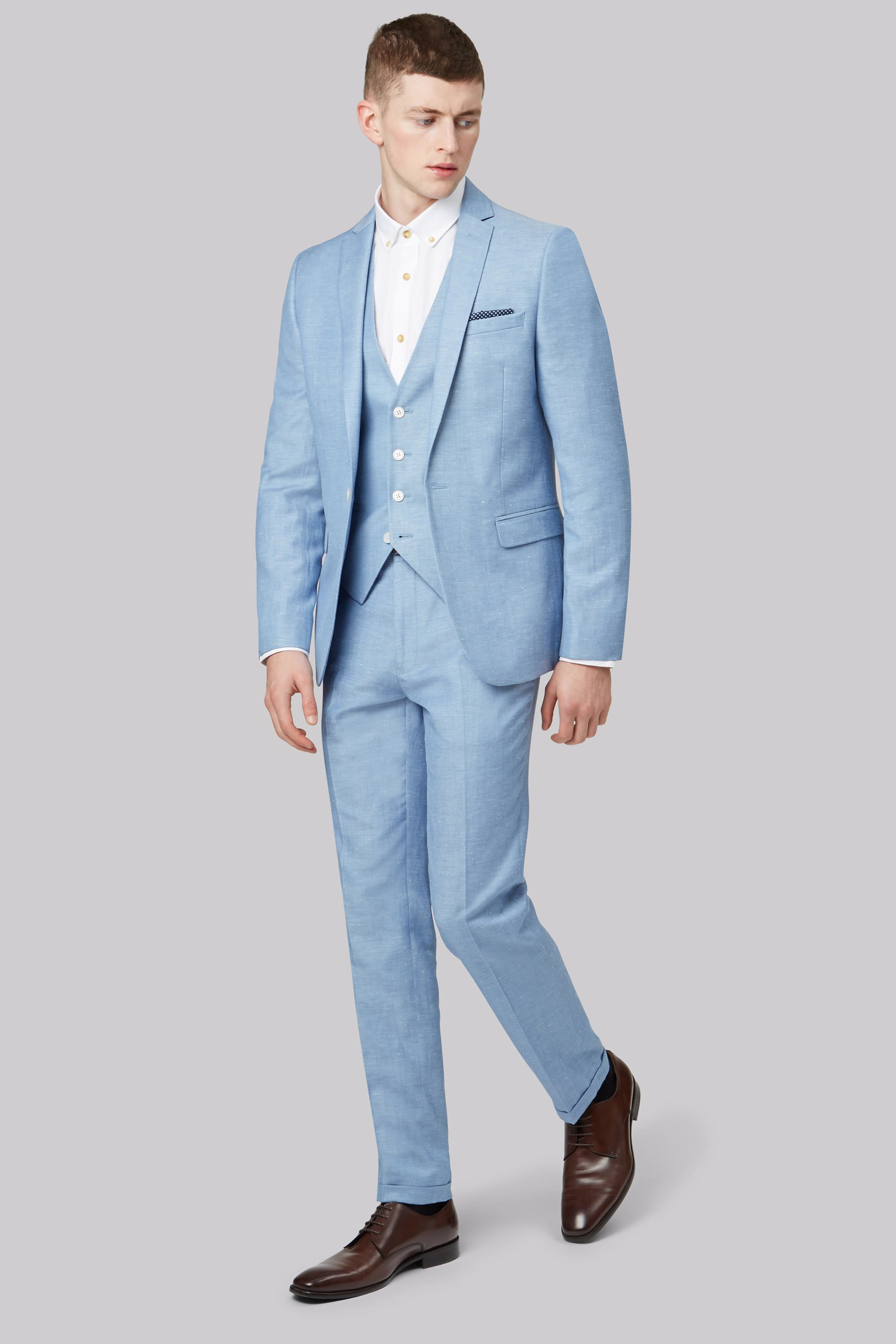 London Slim Fit Sky Blue Linen Jacket