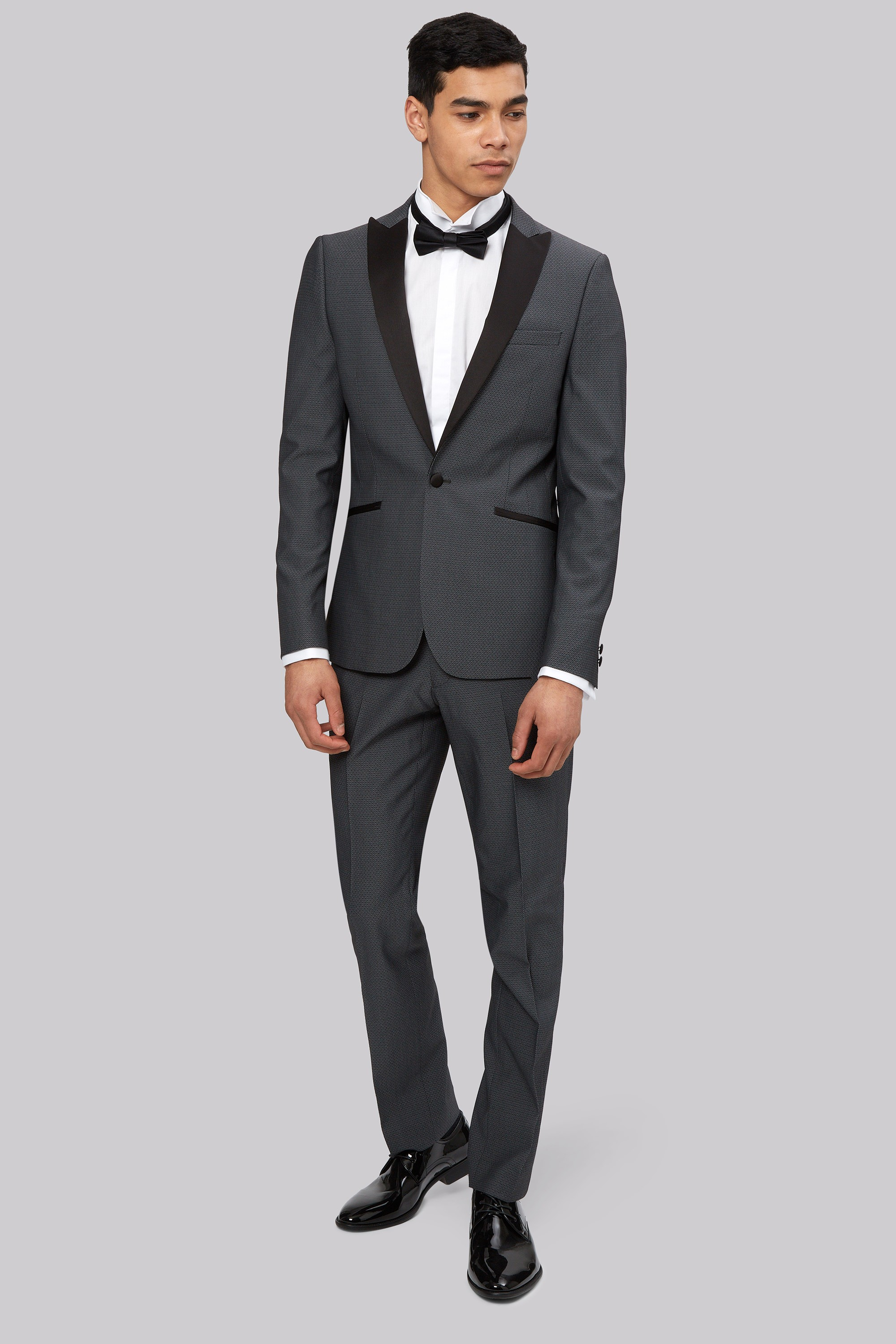 London Skinny Fit Diamond Gunmetal Jacquard Tuxedo