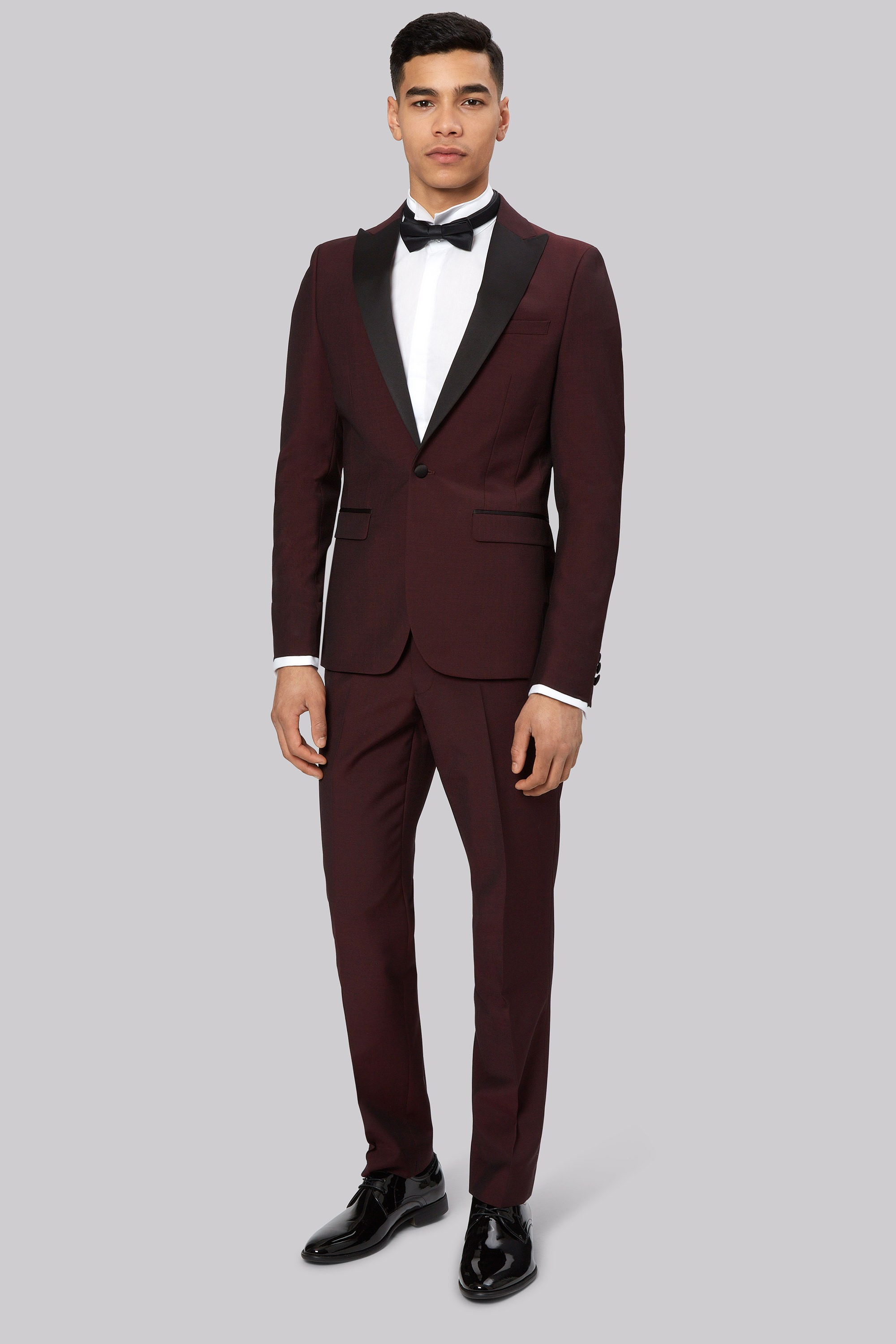 London Skinny Fit Claret Dress Suit