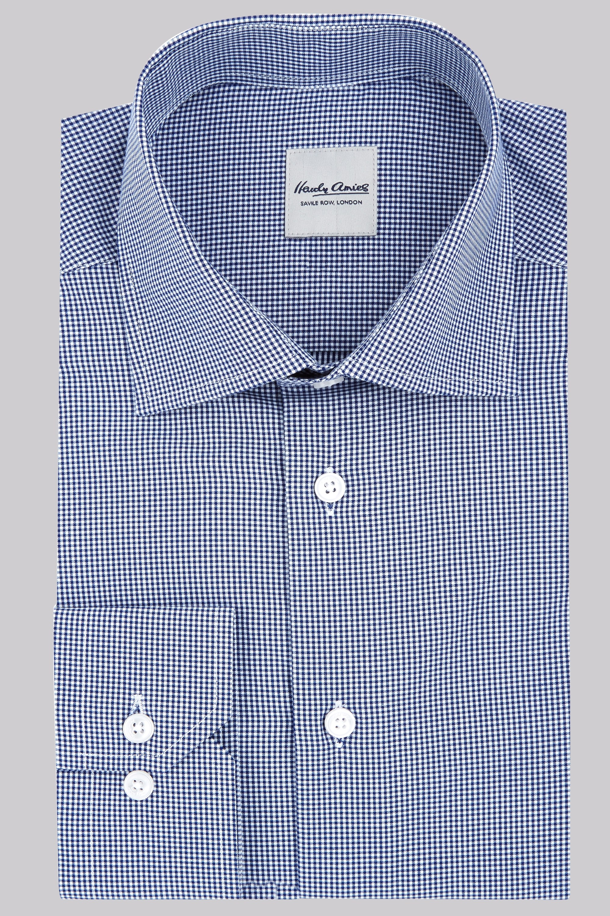 Hardy amies slim fit navy gingham check shirt for Slim fit gingham check shirt