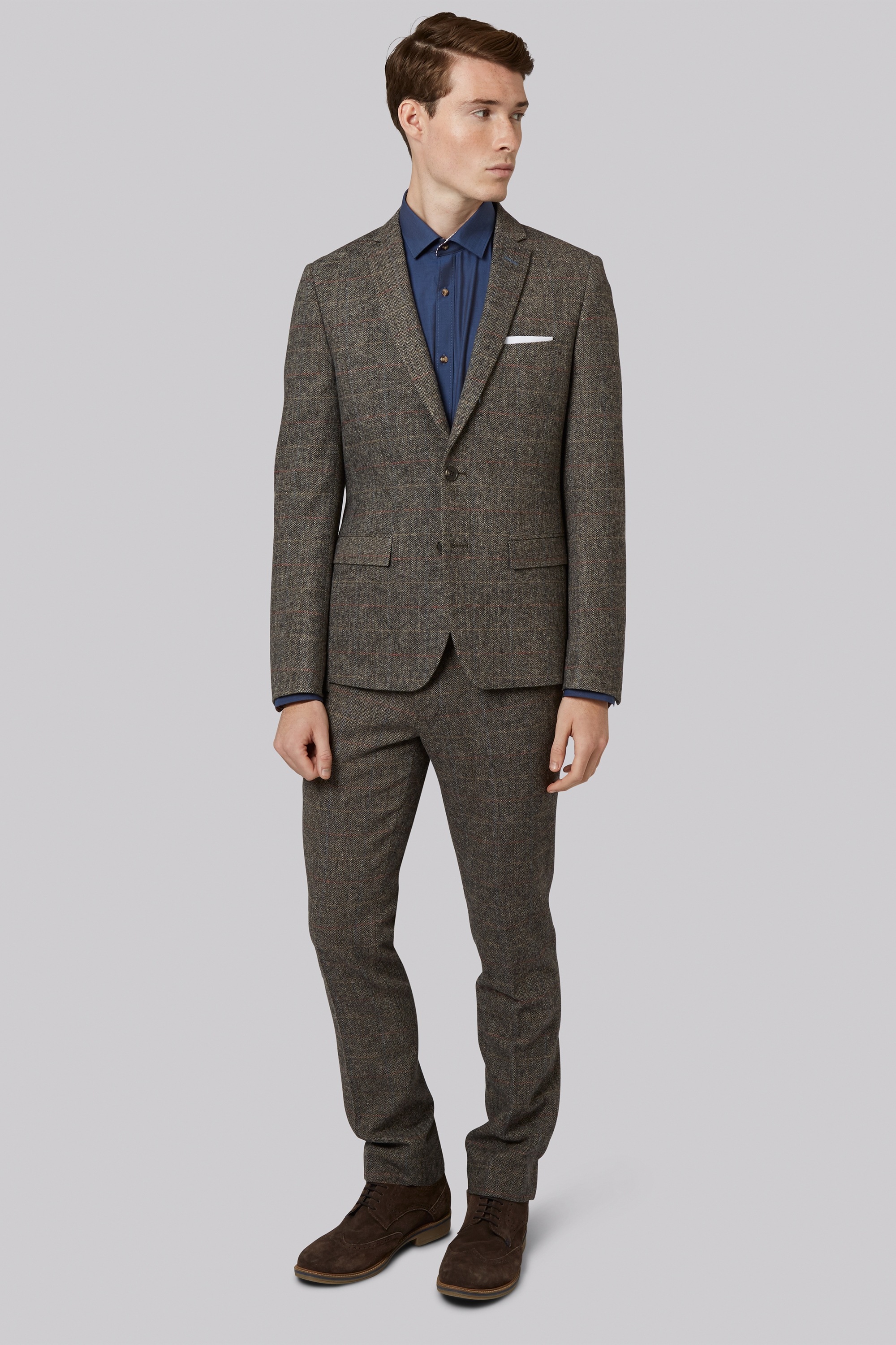 Moss London Slim Fit Light Brown Check Jacket