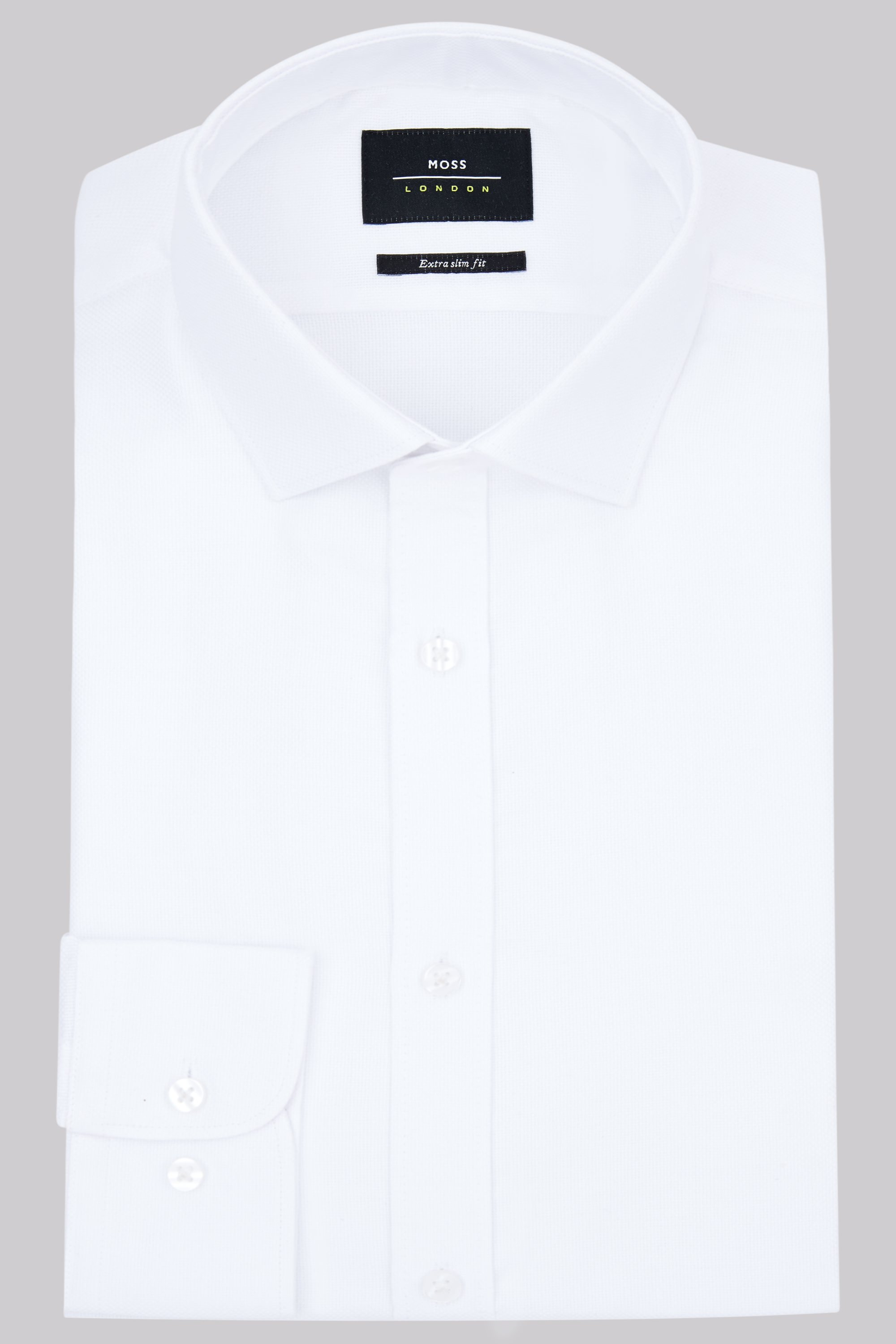 Moss London Premium Extra Slim Fit White Single Cuff Oxford Texture Shirt