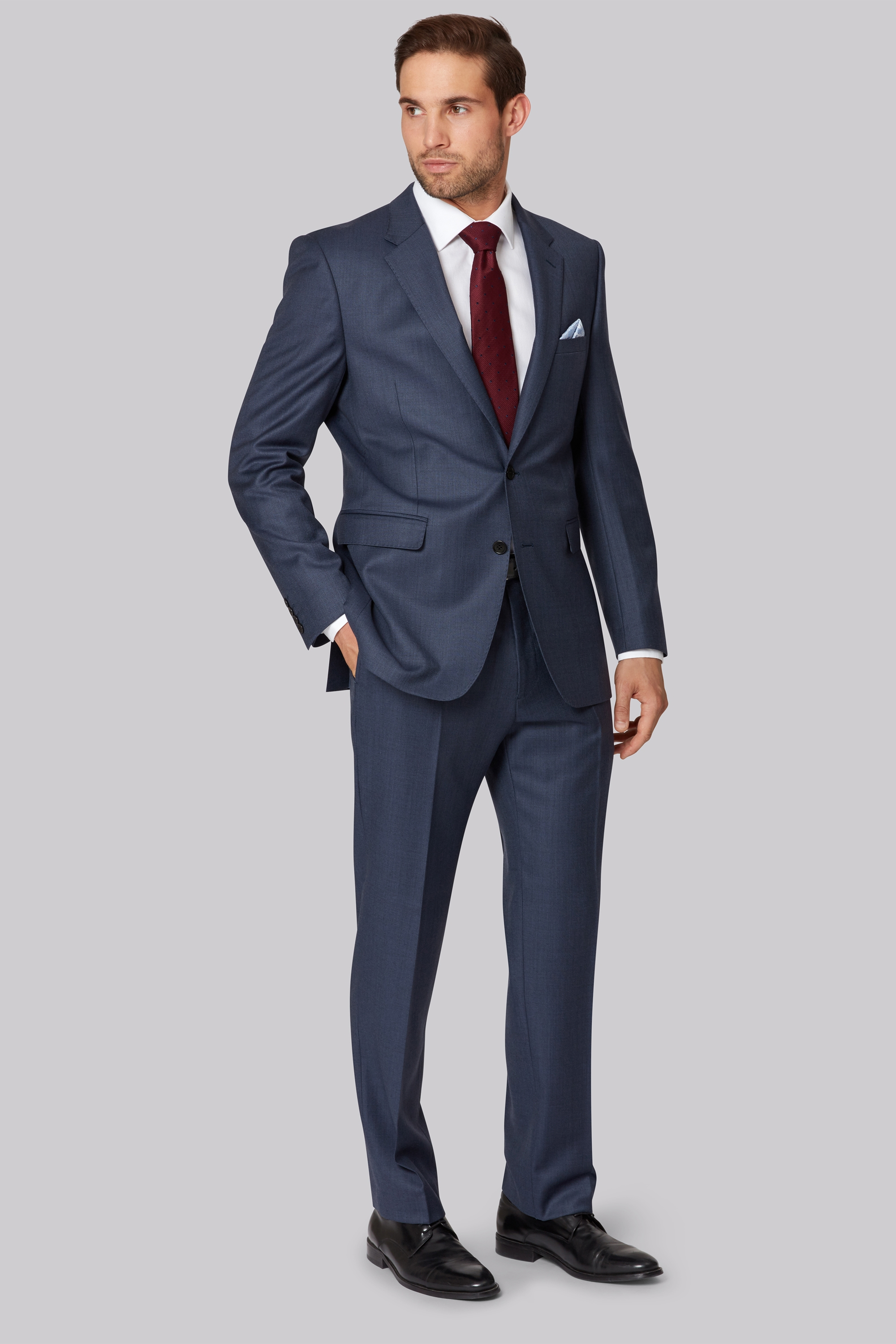 Ermenegildo Zegna Cloth Regular Fit Blue Sharkskin Jacket