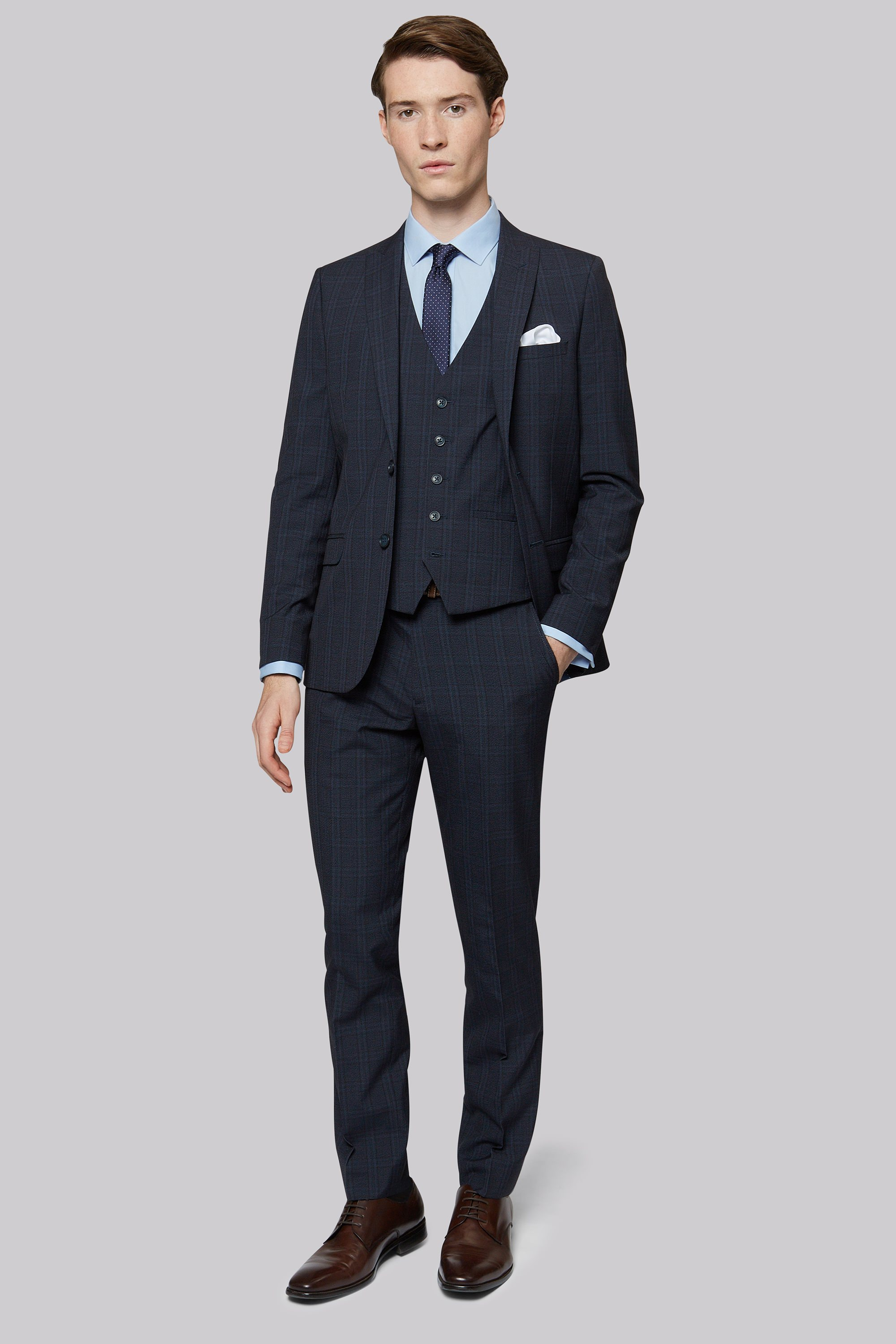 London Skinny Fit Navy Check Jacket