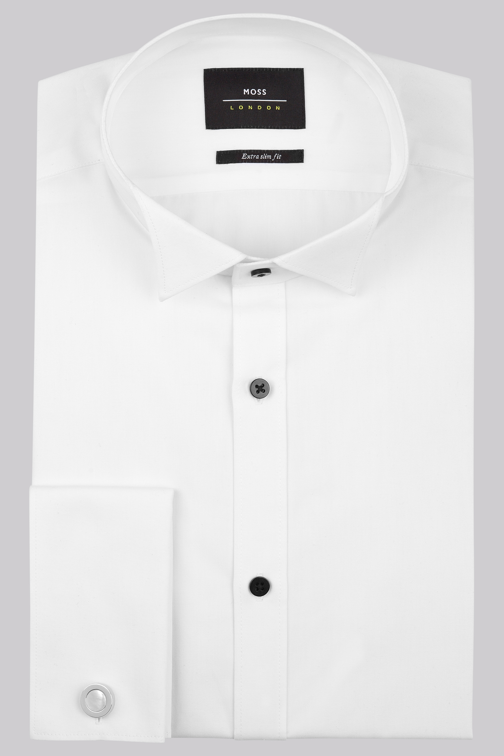 London Extra Slim Fit Double Cuff Plain Wing Collar Dress Shirt ...