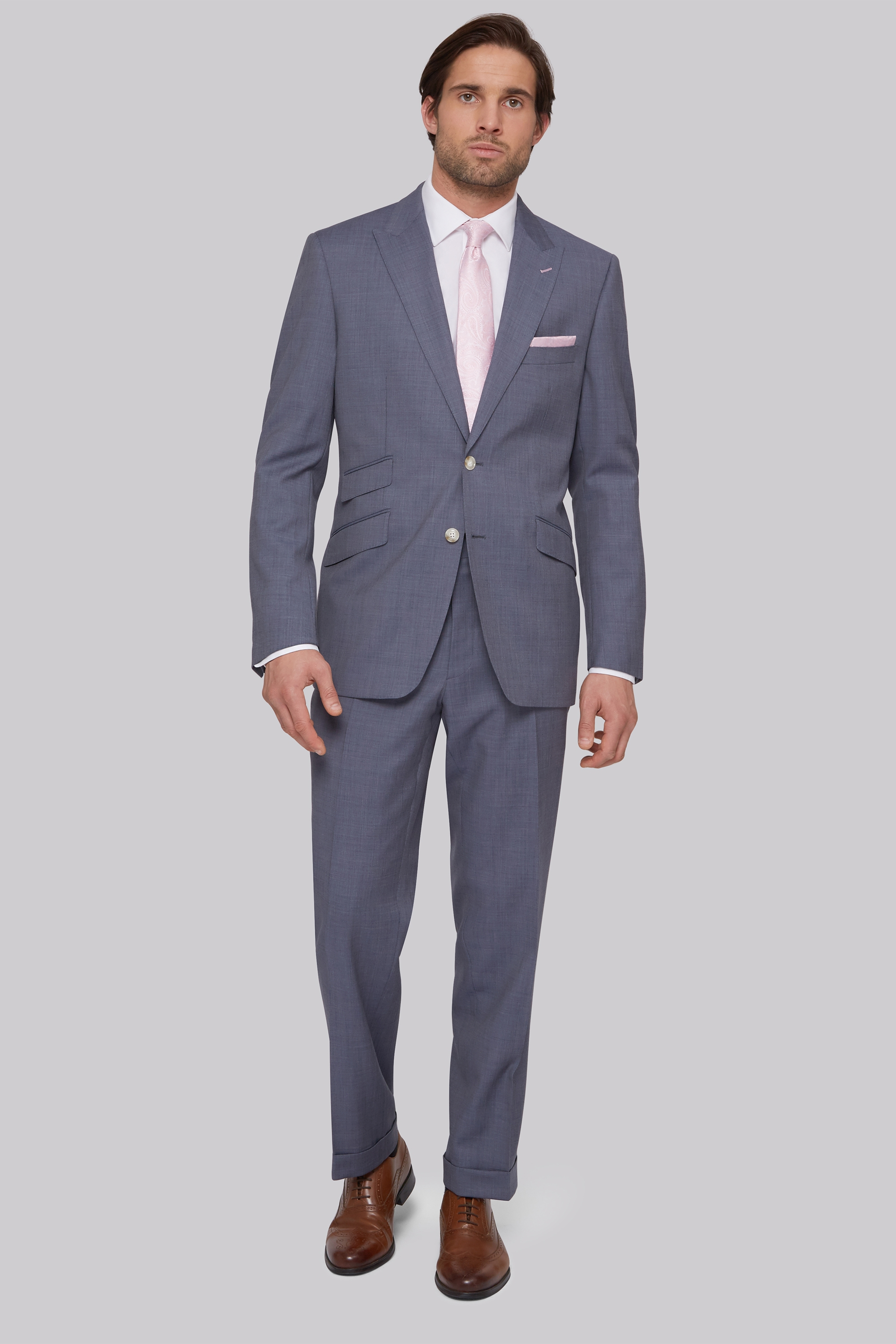 Bros Regular Fit Blue Grey Suit