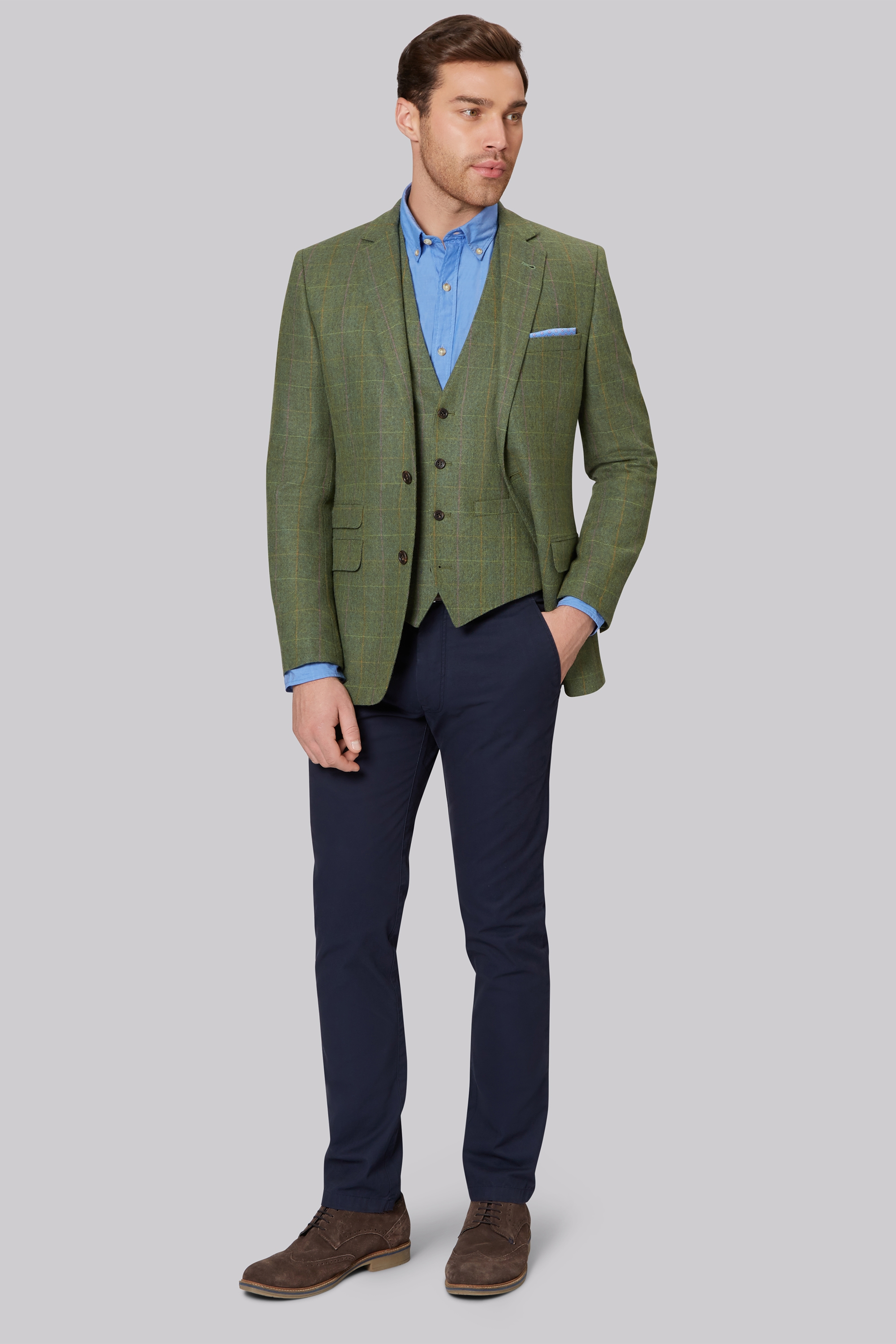 Moss 1851 Tailored Fit Bright Green Multi Check Jacket