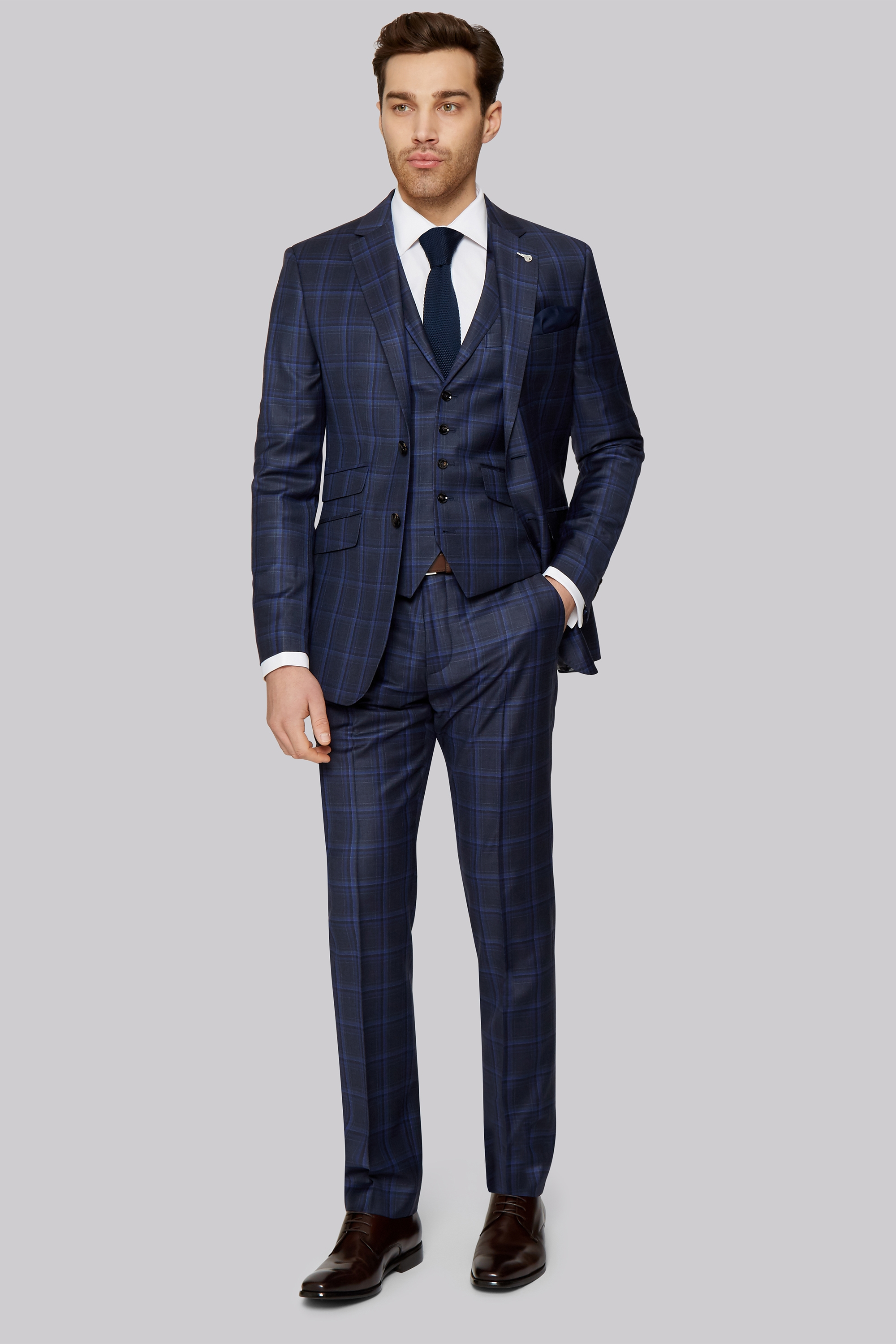 Ted Baker Tailored Fit Navy Check Jacket