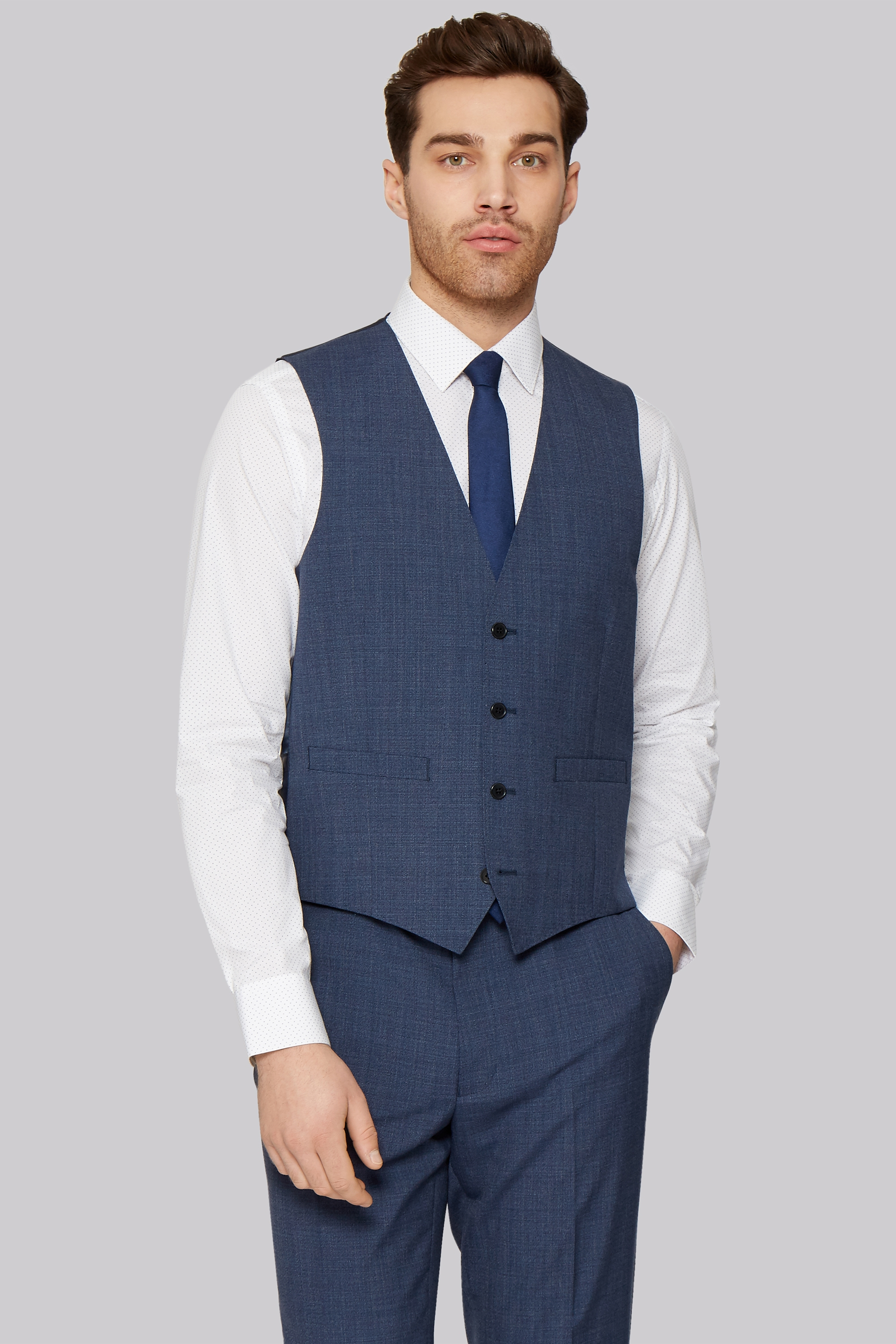 french connection slim fit blue textured waistcoat