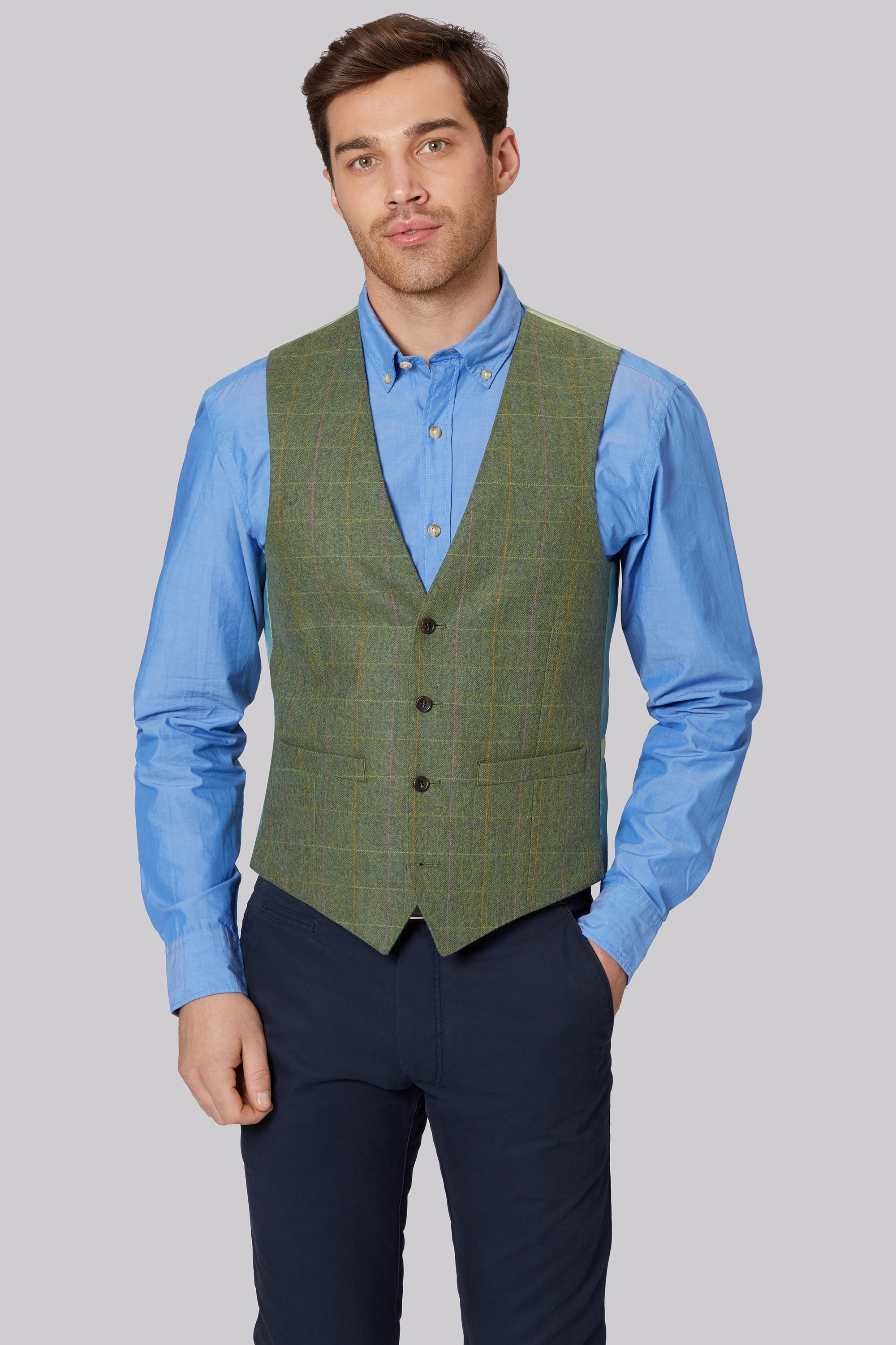 1851 Tailored Fit Bright Green Multi Check Waistcoat