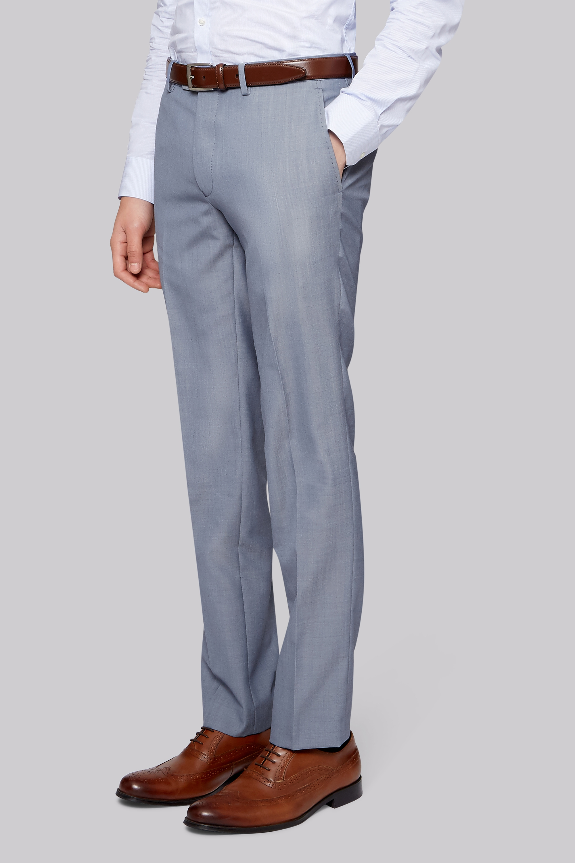 Moss London Skinny Fit Ice Blue Trousers