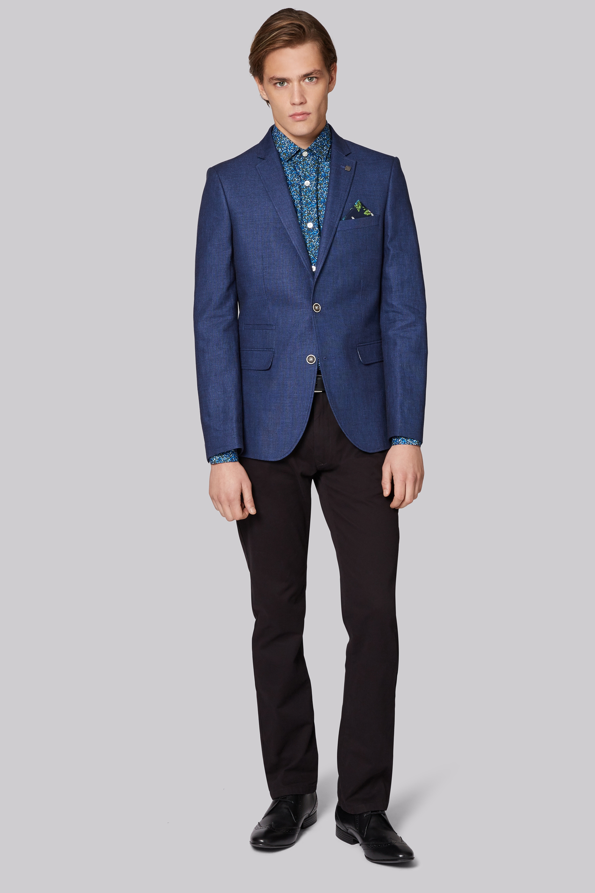 Moss London Slim Fit Blue Linen Cotton Jacket