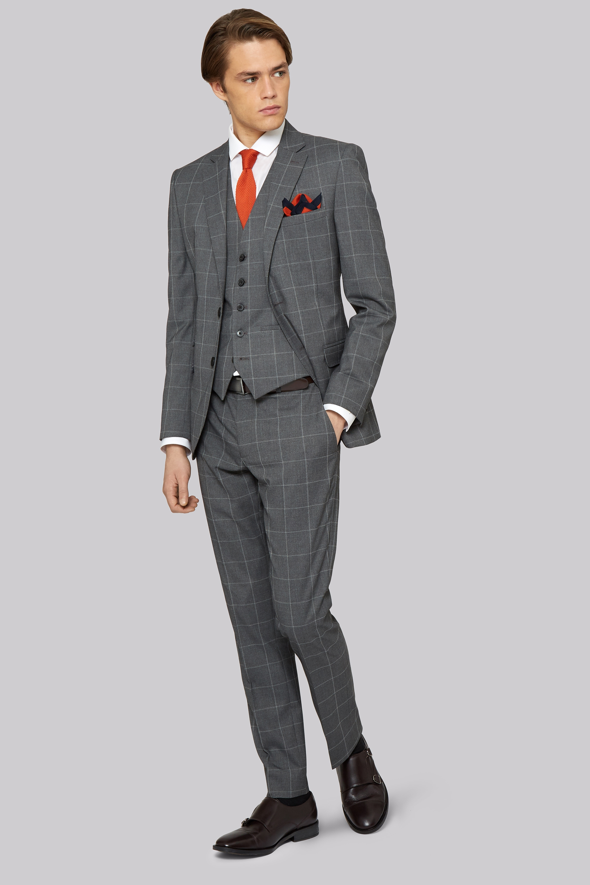 London Skinny Fit Grey Check Jacket