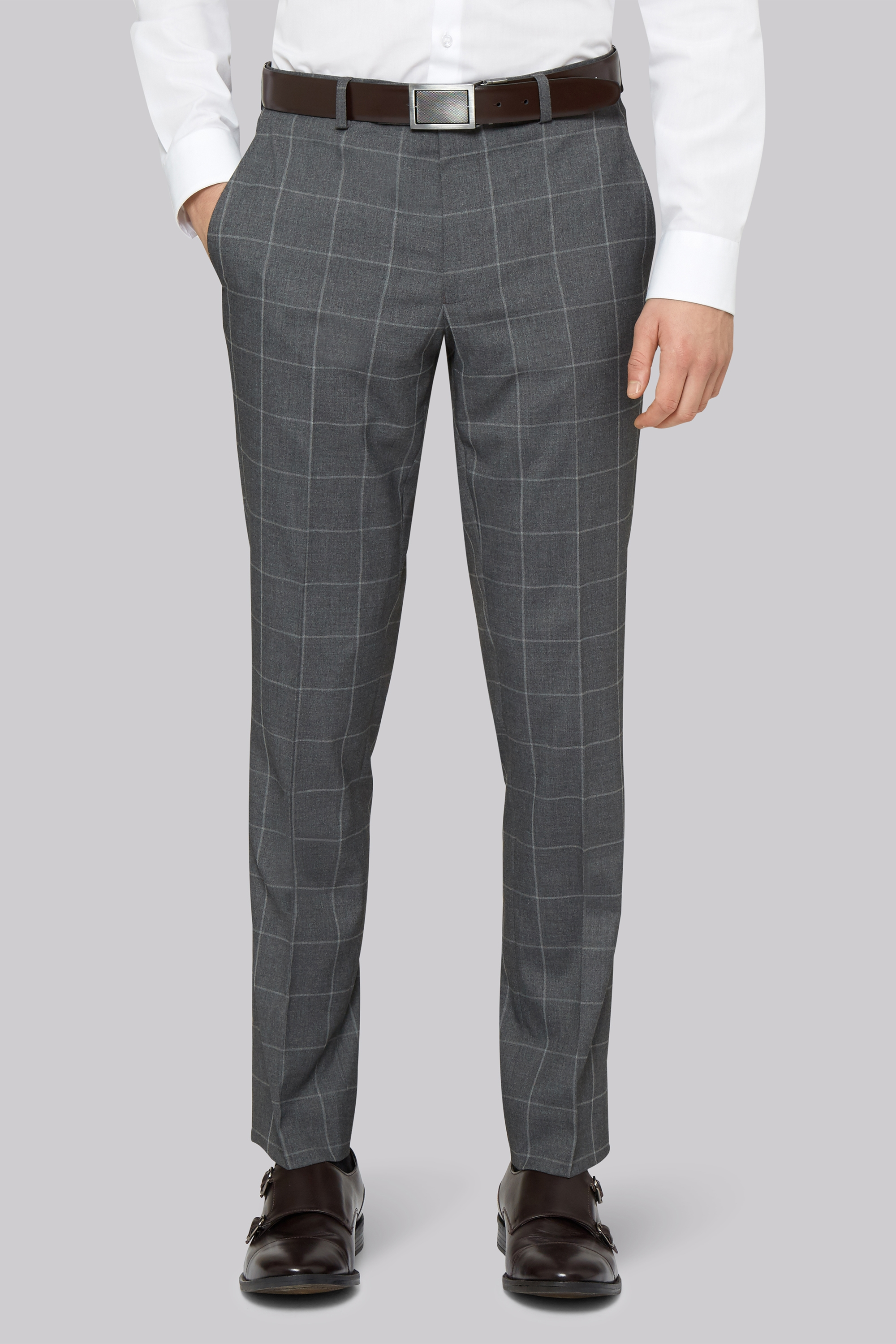 93fd7374b7bd Moss London Skinny Fit Grey Check Trousers ...
