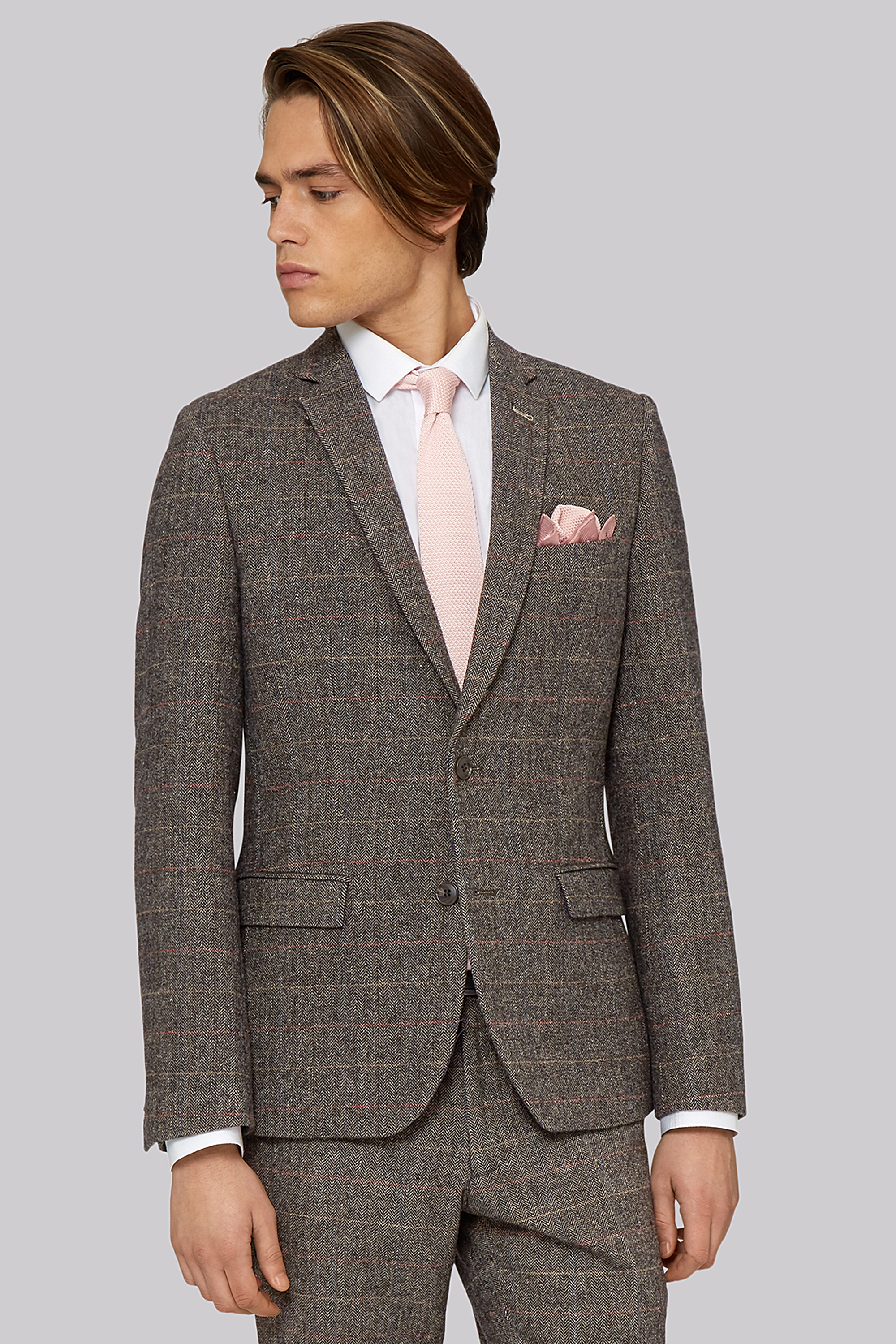 London Slim Fit Light Brown Check Jacket