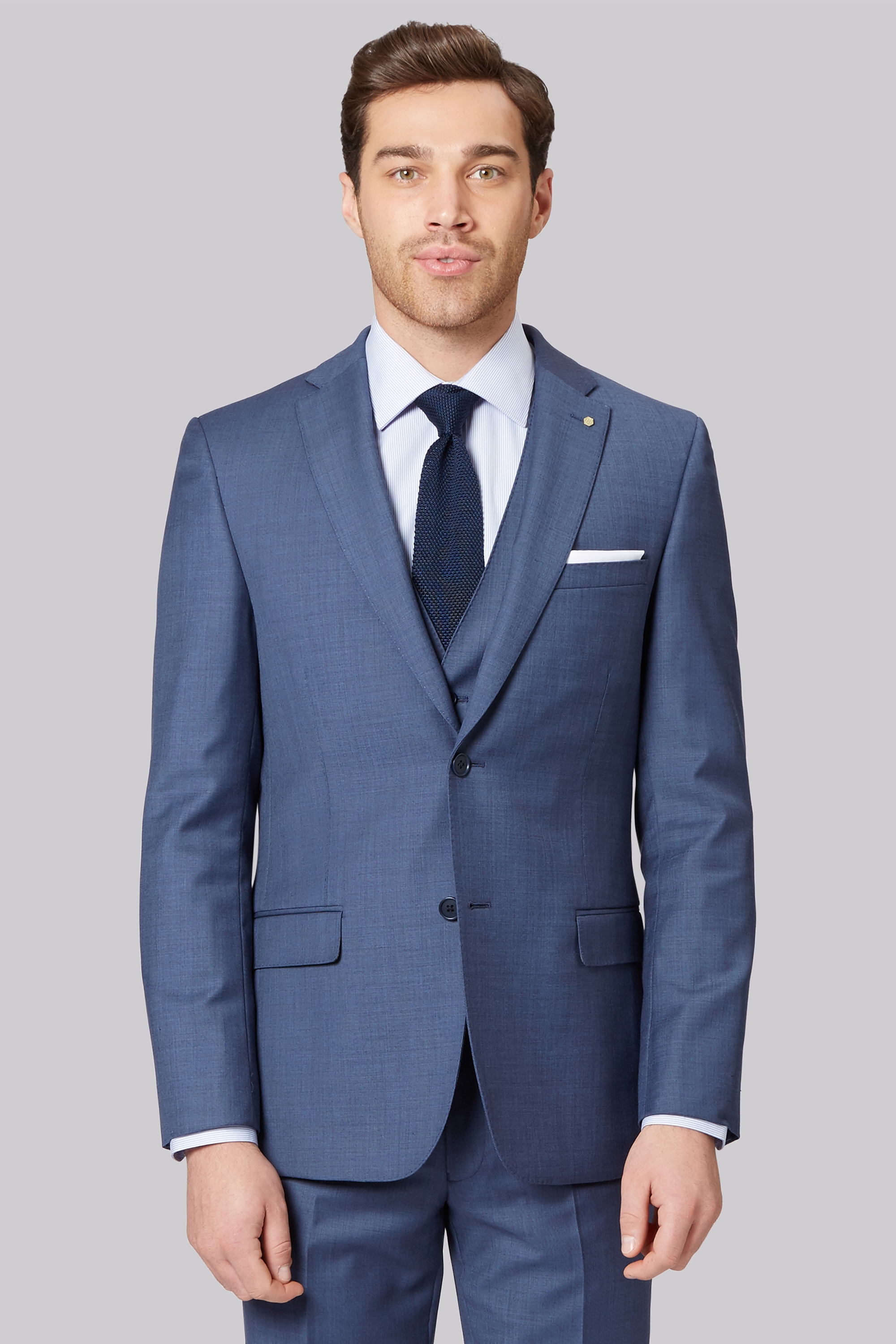 Ted Baker Gold Tailored Fit Blue Sharkskin Jacket