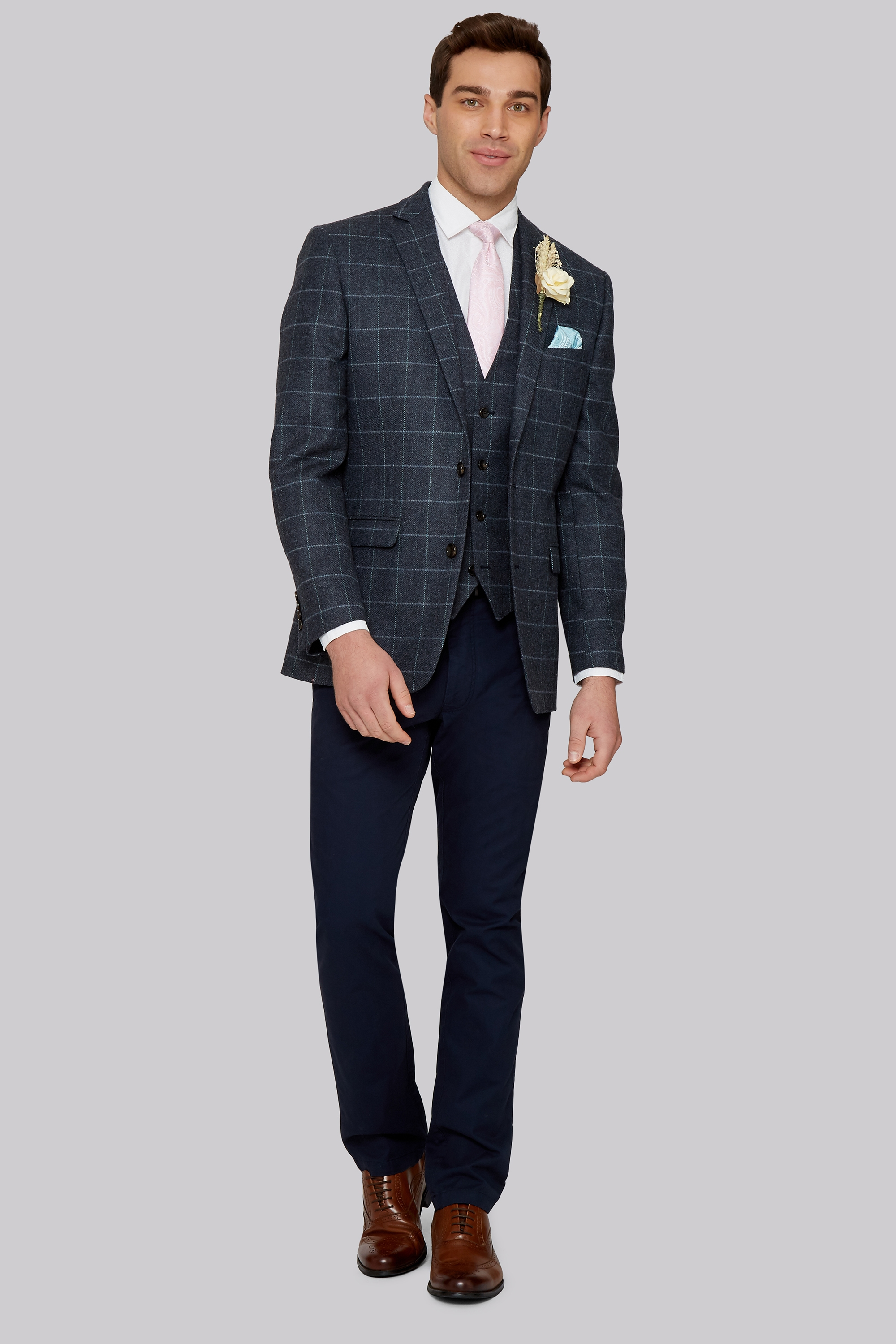 Moss 1851 Tailored Fit British Wool Blue Grey Windowpane Jacket